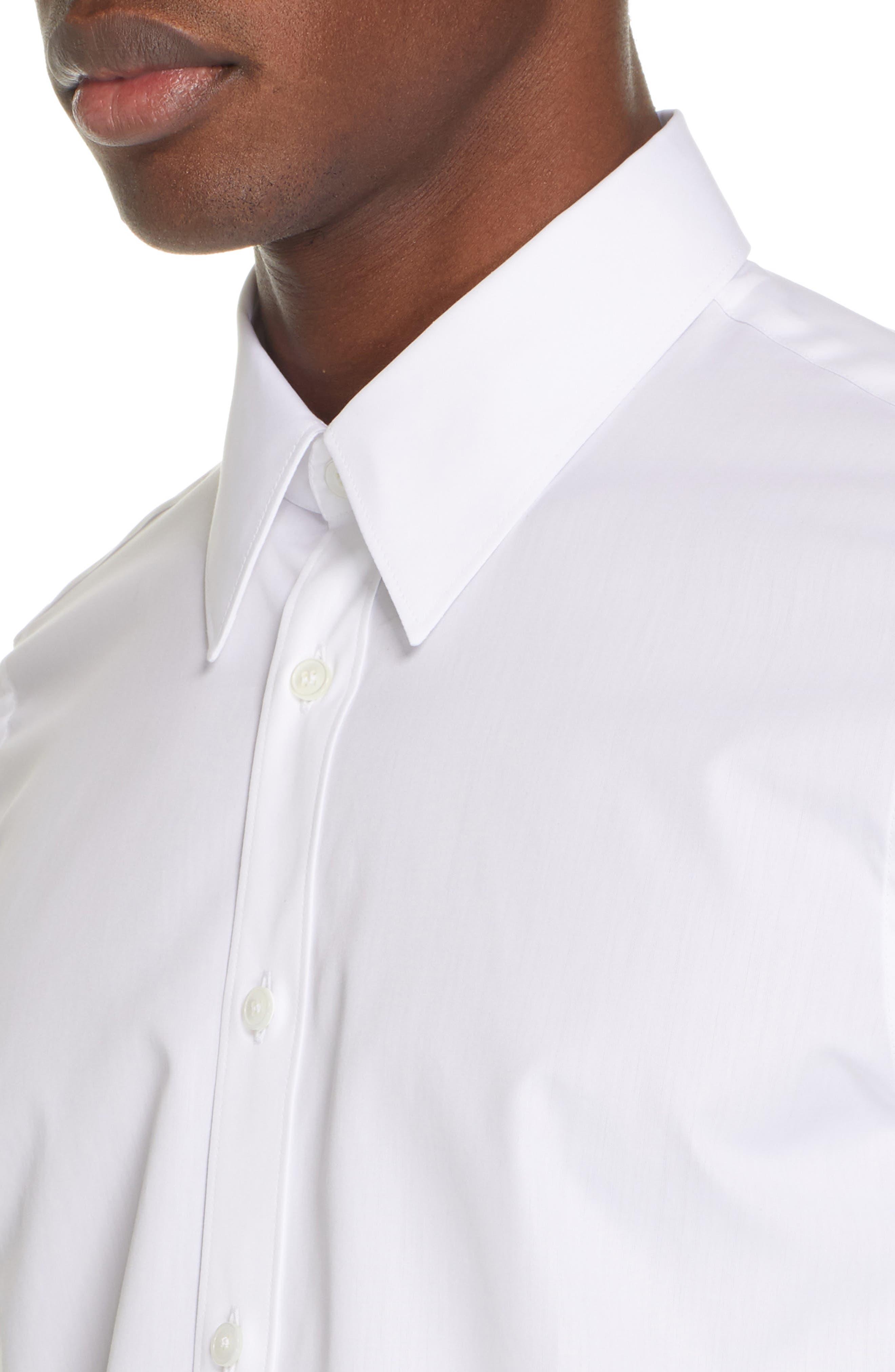 HELMUT LANG, Logo Back Long Sleeve Woven Shirt, Alternate thumbnail 2, color, WHITE AND BLACK