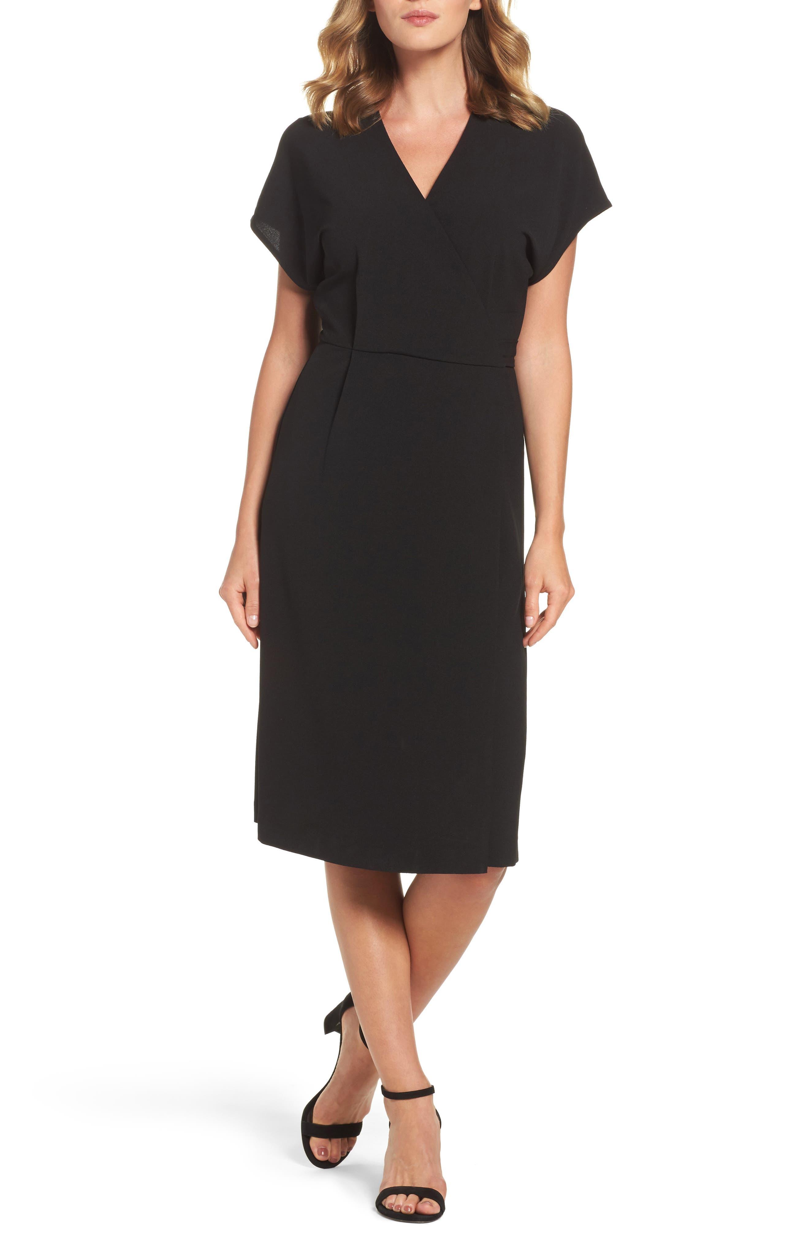 FELICITY & COCO, Rita Wrap Dress, Alternate thumbnail 6, color, BLACK