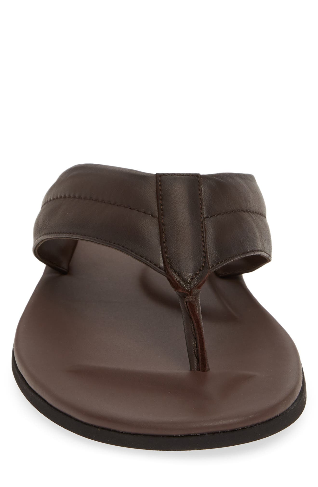 TO BOOT NEW YORK, Grande Flip Flop, Alternate thumbnail 4, color, BROWN LEATHER