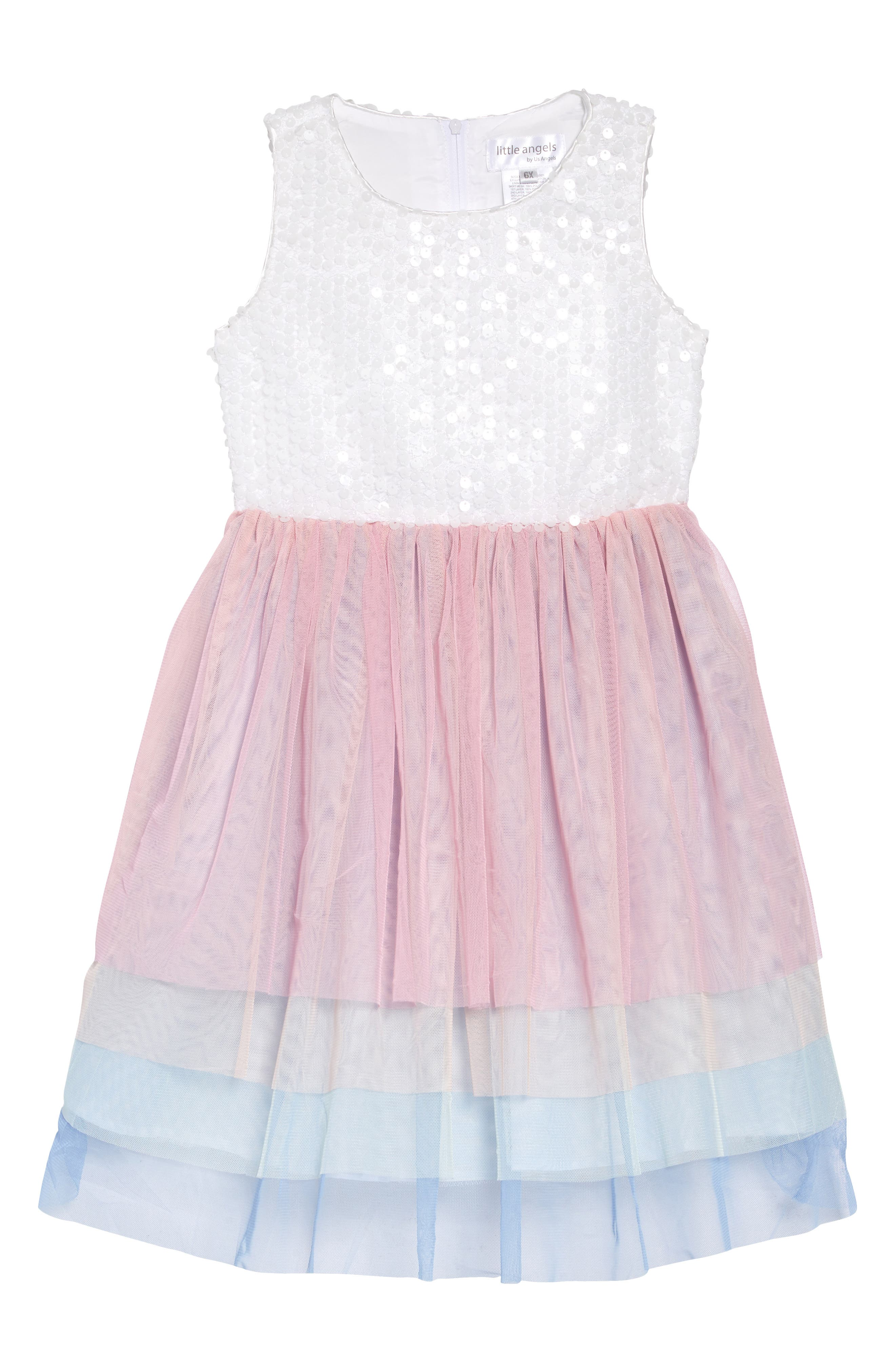 LITTLE ANGELS Sequin & Tulle Ballerina Dress, Main, color, PINK