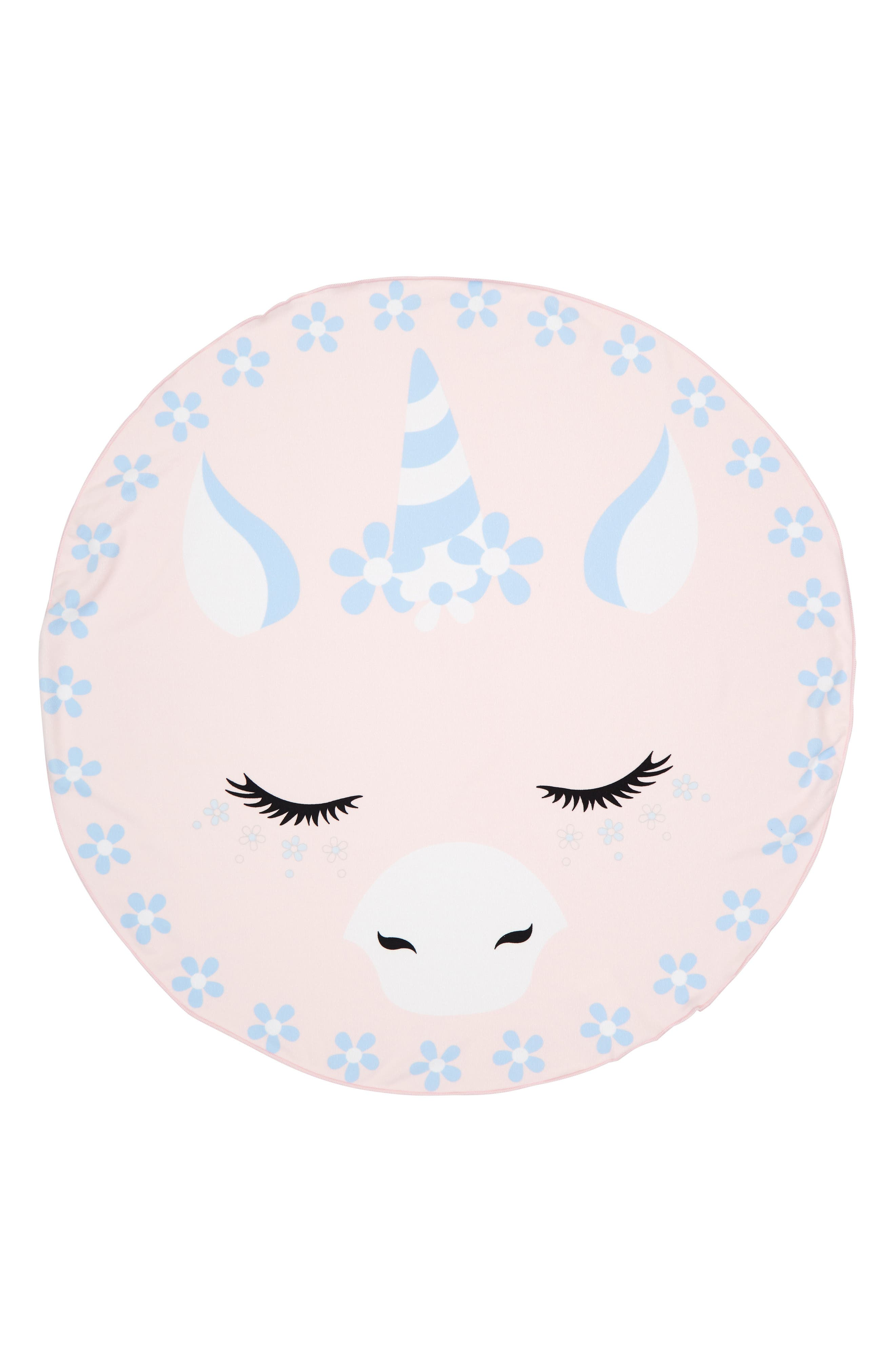 UNDER ONE SKY, Unicorn Round Beach Towel, Main thumbnail 1, color, PINK UNICORN
