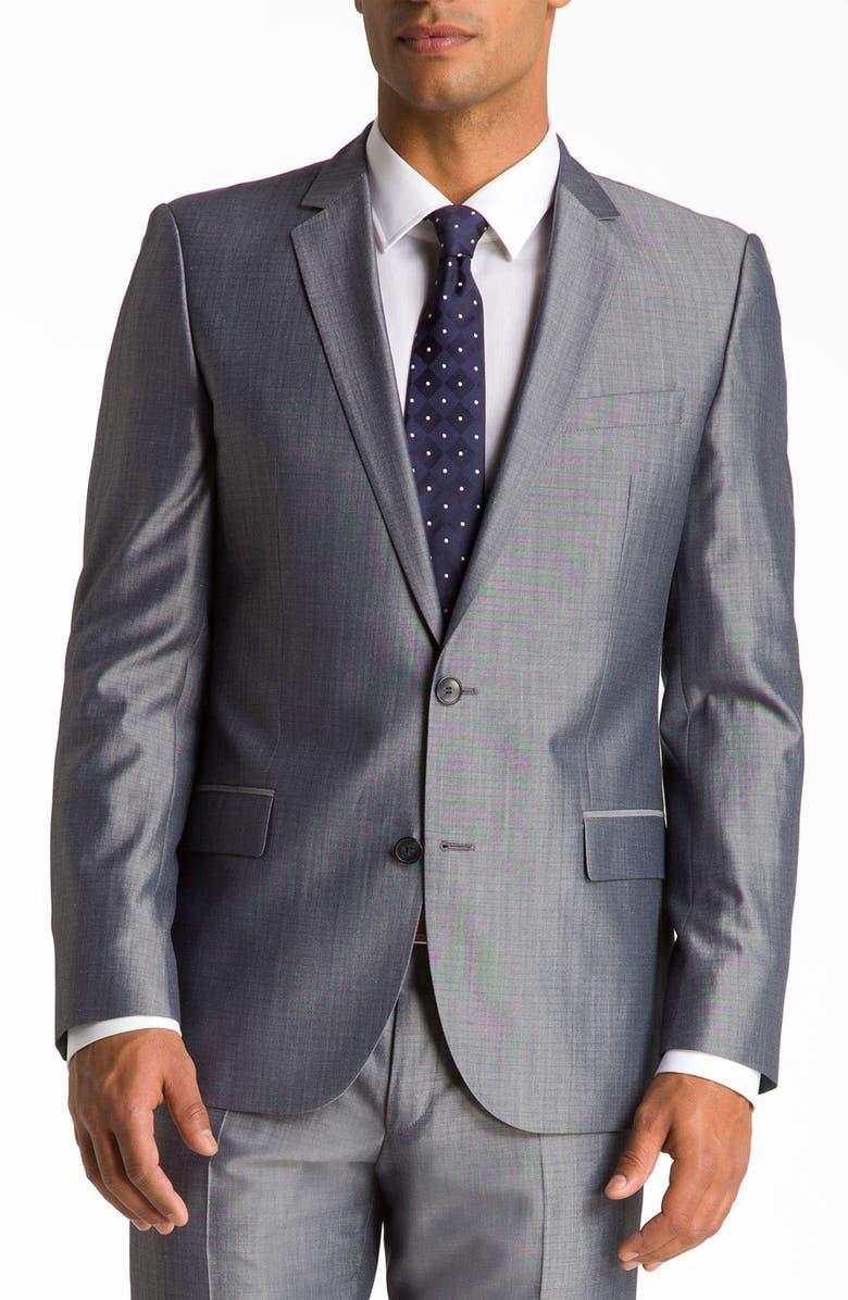 12f70004 ZZDNUHUGO BOSS HUGO 'Amaro Heise' Grey Check Suit, Main, color, ...