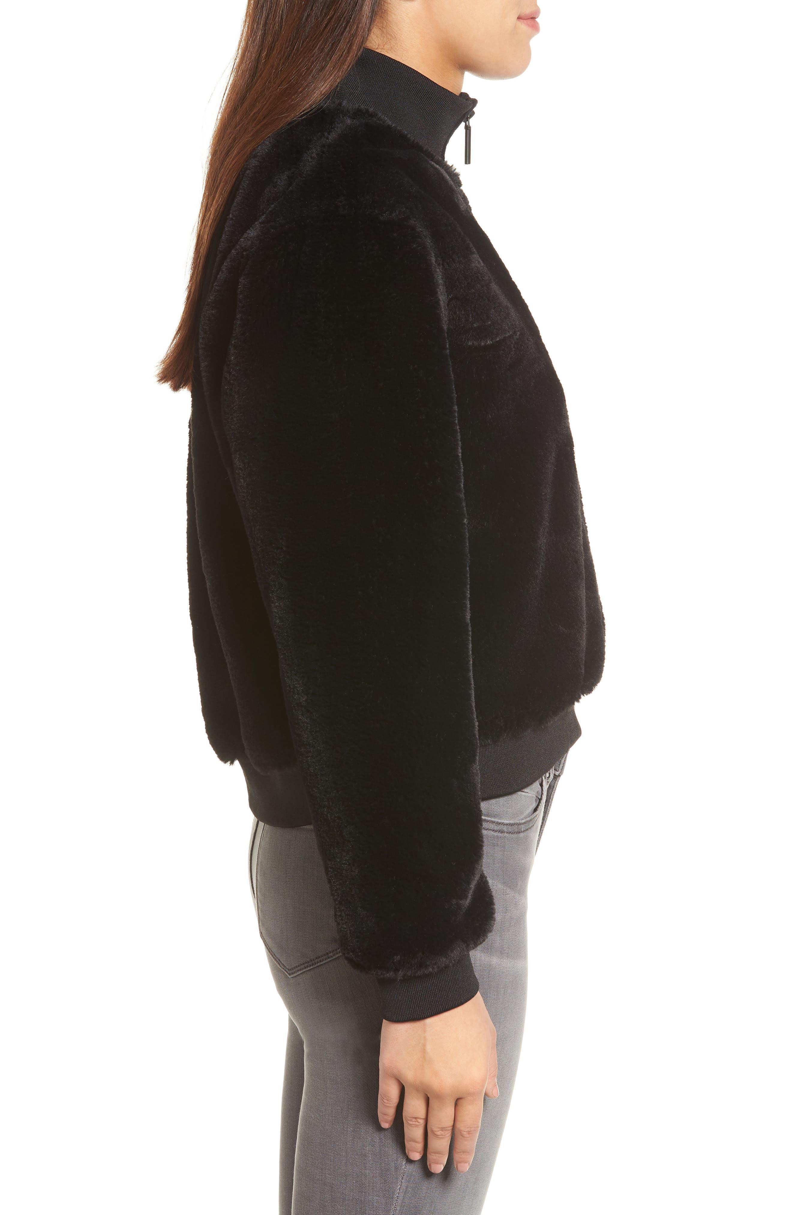 KENNETH COLE NEW YORK, Half-Zip Faux Fur Sweatshirt, Alternate thumbnail 3, color, BLACK