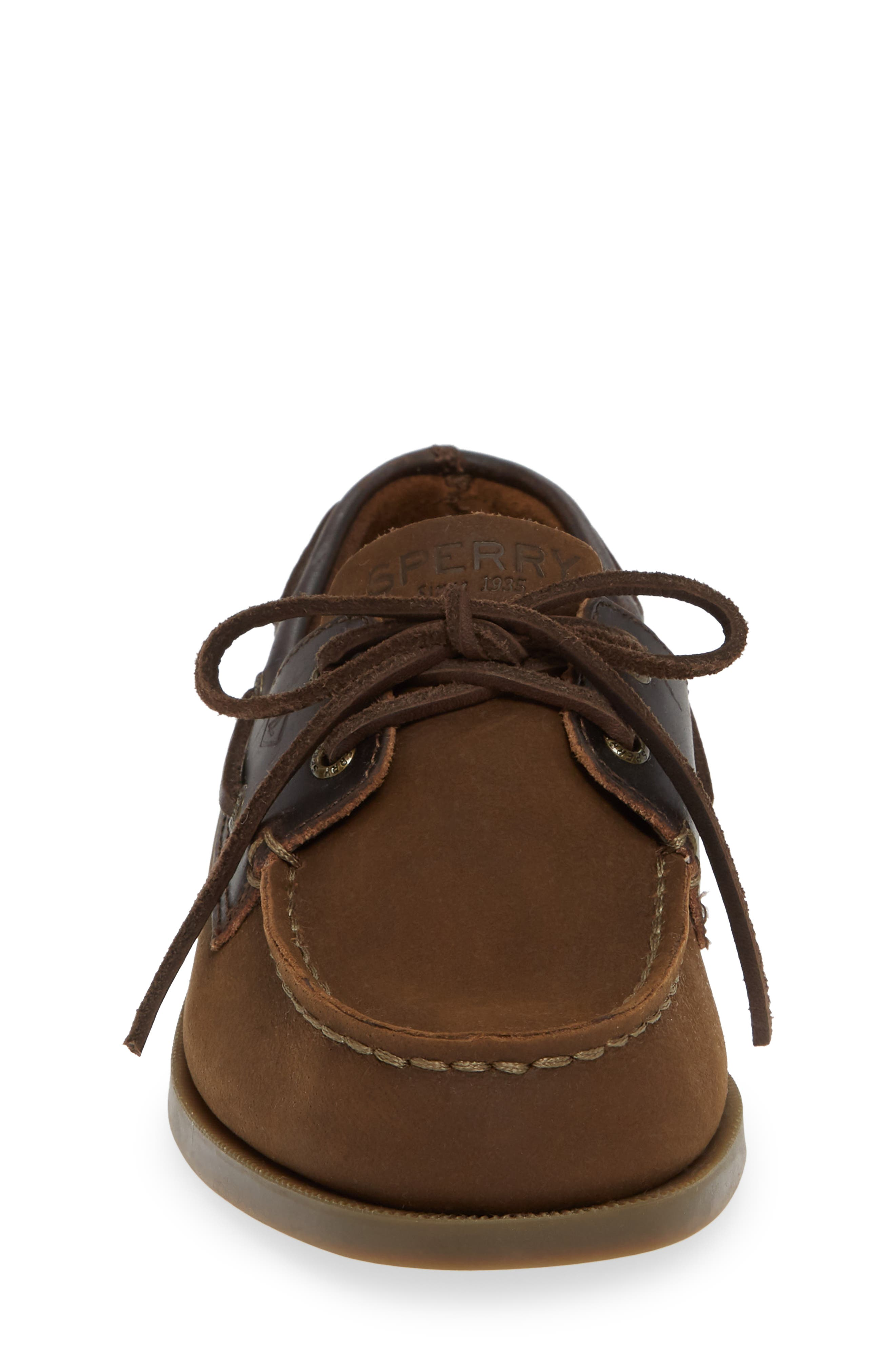 SPERRY KIDS, 'Authentic Original' Boat Shoe, Alternate thumbnail 4, color, BROWN BUCK LEATHER