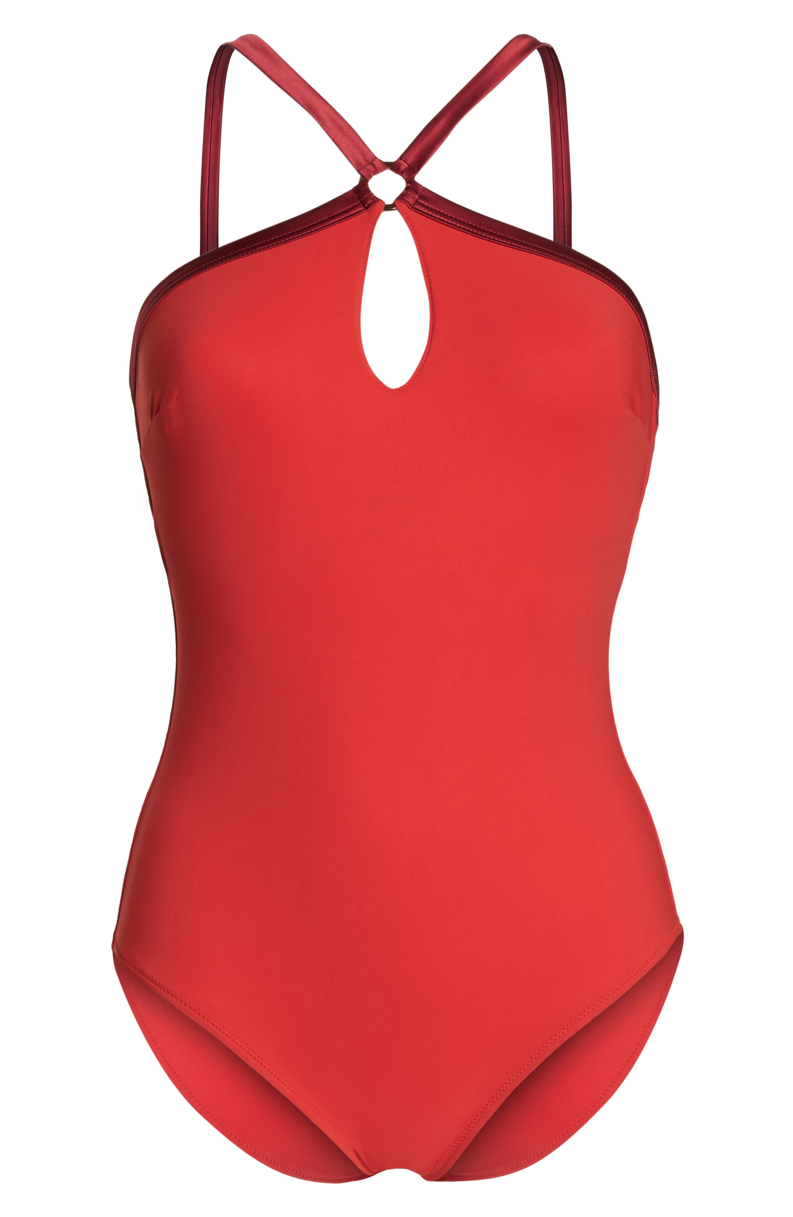 VILEBREQUIN, Tuxedo One-Piece Swimsuit, Alternate thumbnail 7, color, ROUGE LAQUE