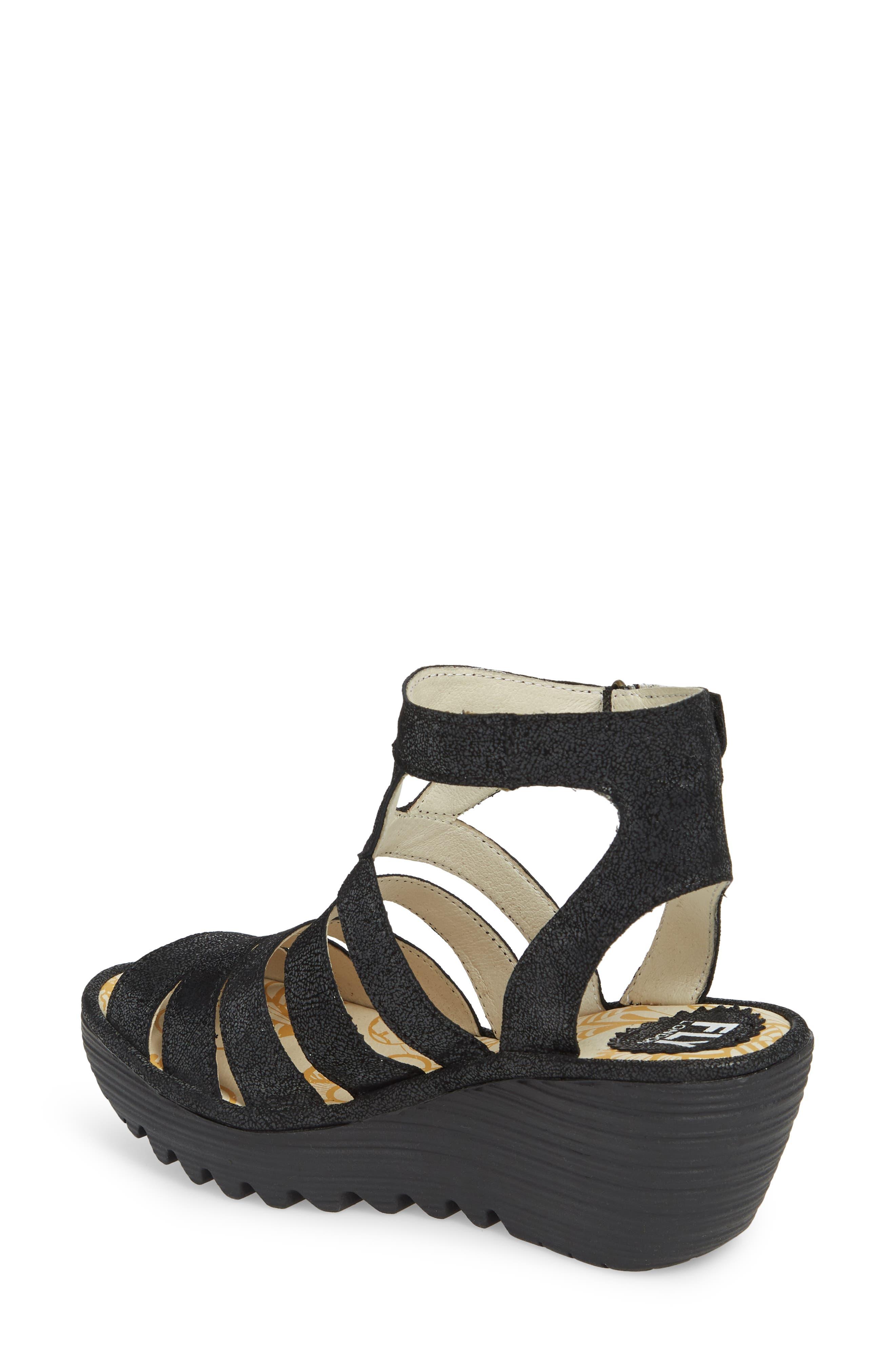 FLY LONDON, Yeba Wedge Sandal, Alternate thumbnail 2, color, BLACK LEATHER