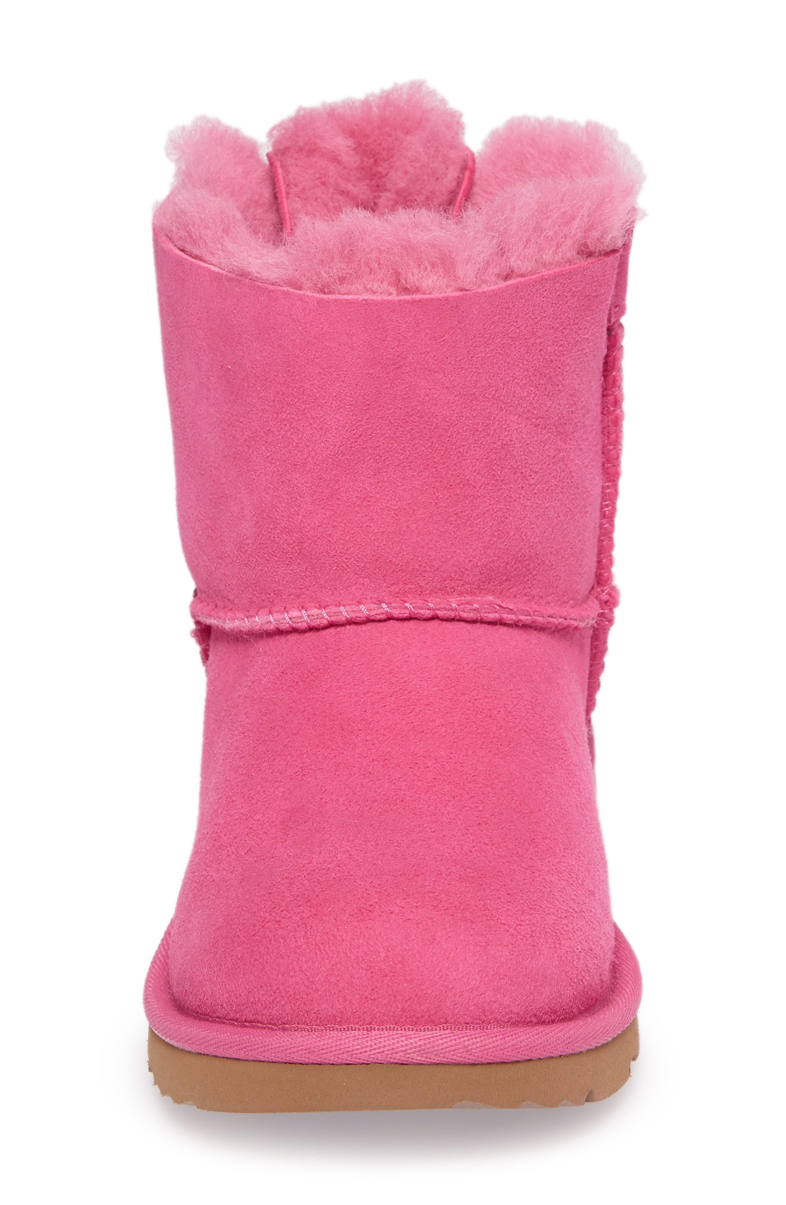 UGG<SUP>®</SUP>, Mini Bailey Bow II Water Resistant Boot, Alternate thumbnail 4, color, PINK AZALEA