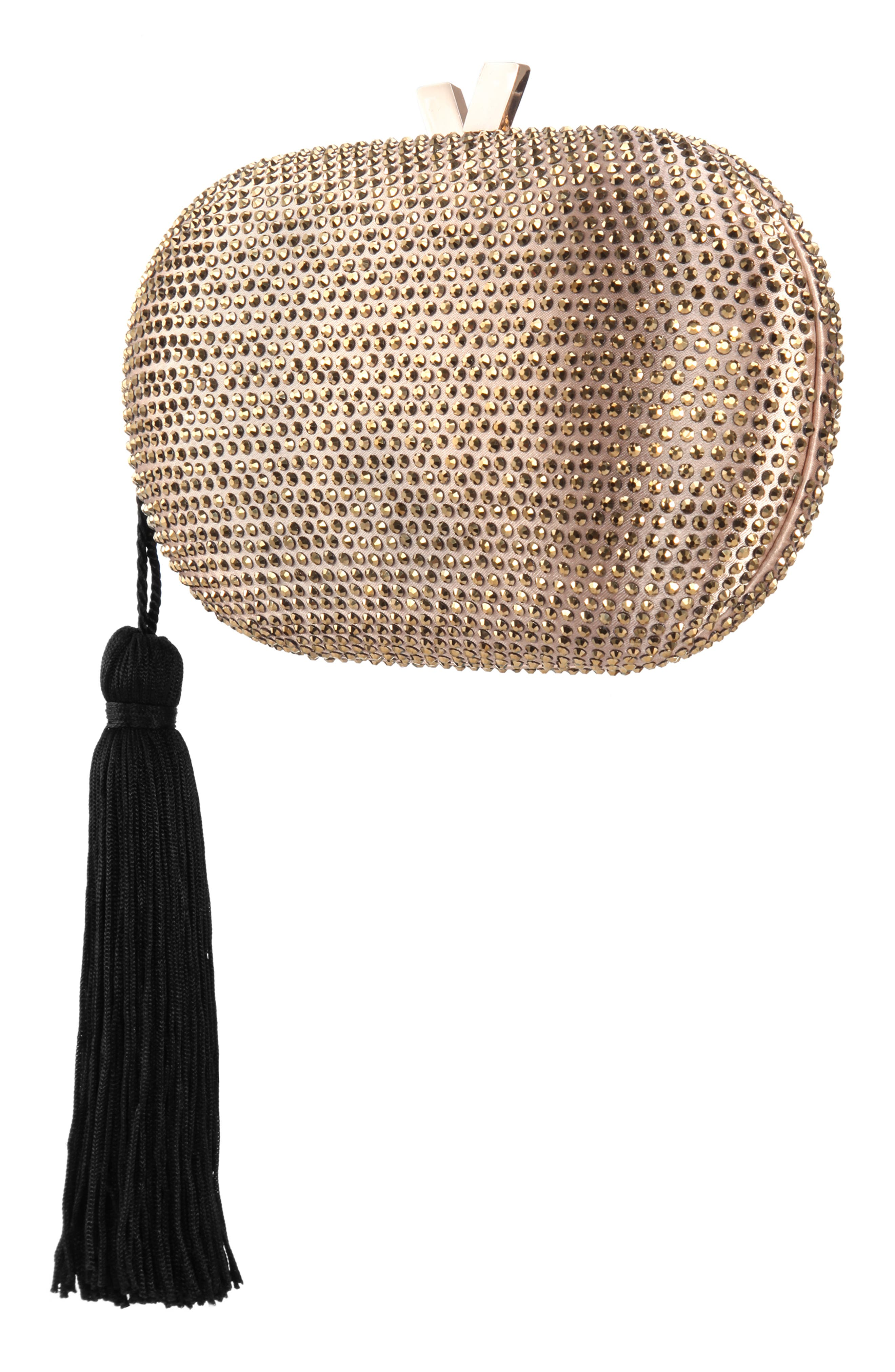 NINA, Oval Minaudière with Tassel, Alternate thumbnail 4, color, DARK GOLD