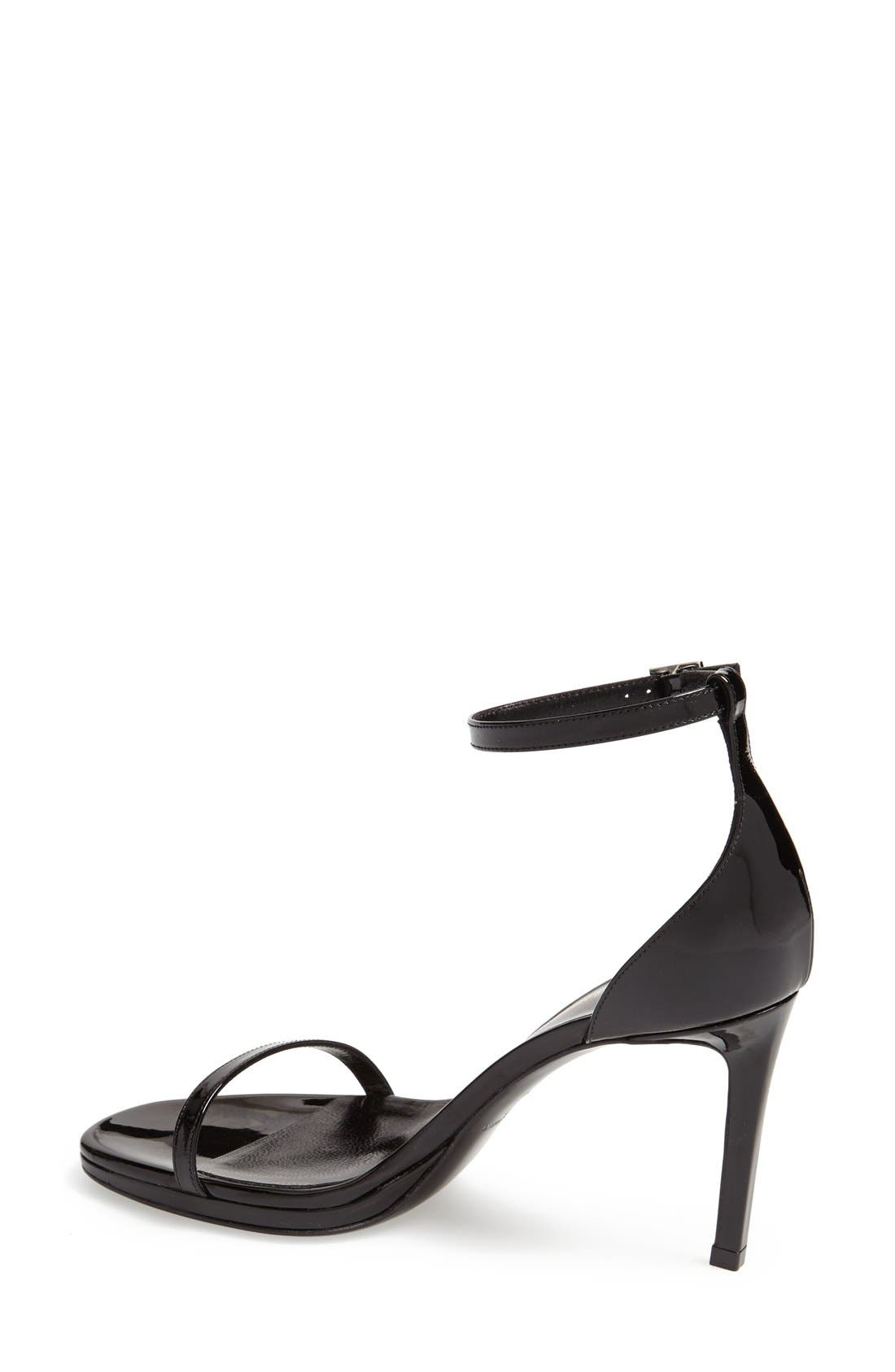 SAINT LAURENT, 'Jane' Ankle Strap Sandal, Alternate thumbnail 2, color, 001