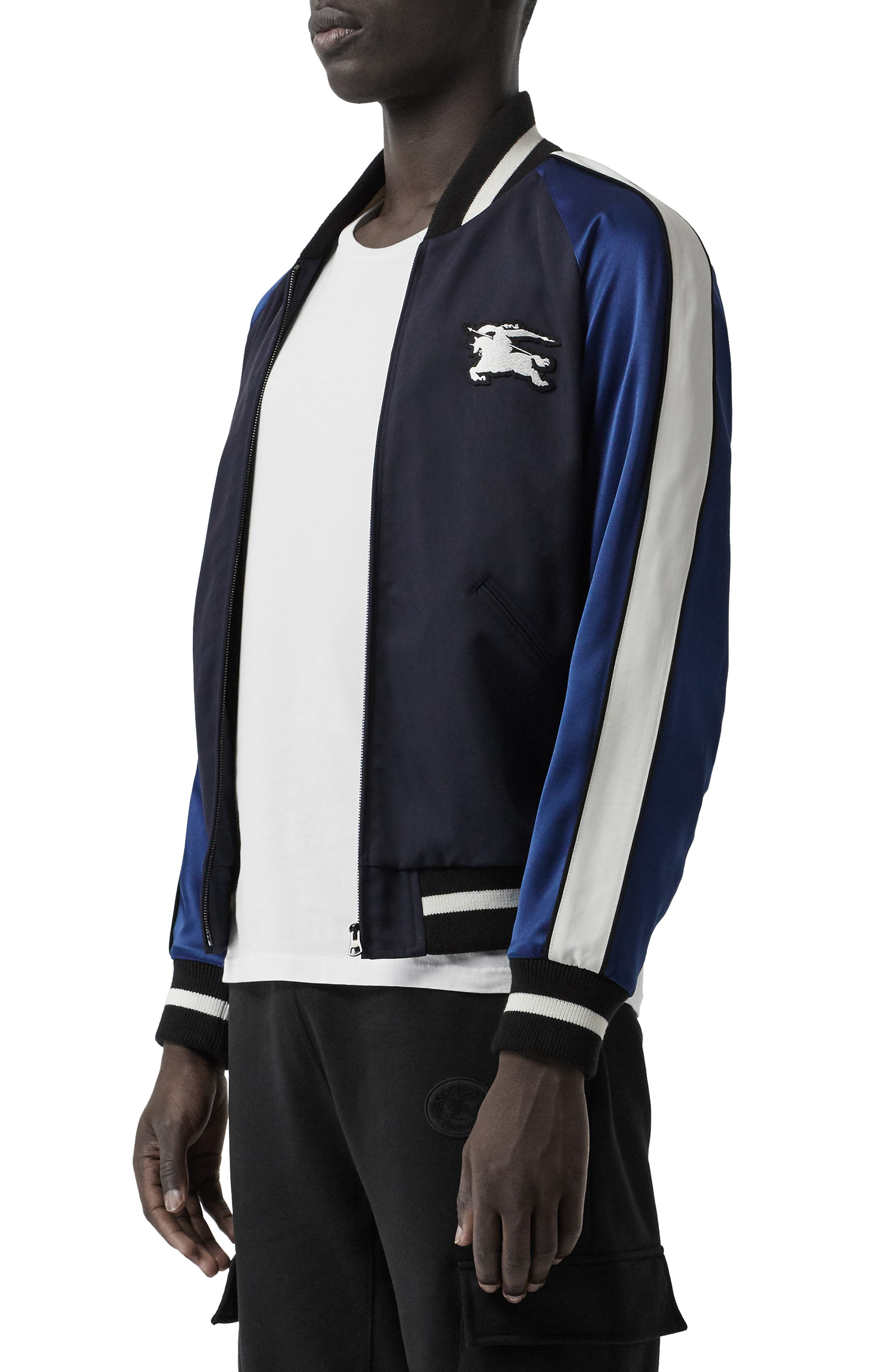 BURBERRY, Thornberry Zip Track Jacket, Alternate thumbnail 3, color, NAVY