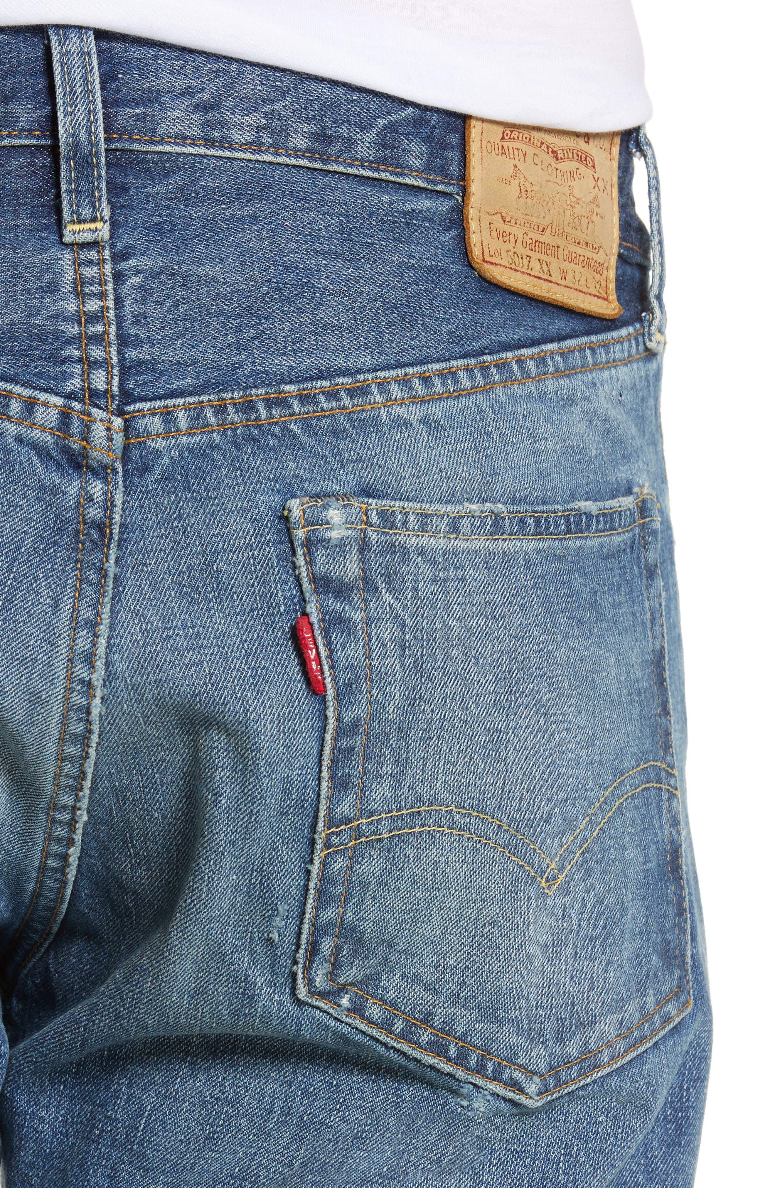 LEVI'S<SUP>®</SUP> VINTAGE CLOTHING, 1954 501<sup>®</sup> Shrink To Fit Straight Leg Jeans, Alternate thumbnail 5, color, BLACKMON