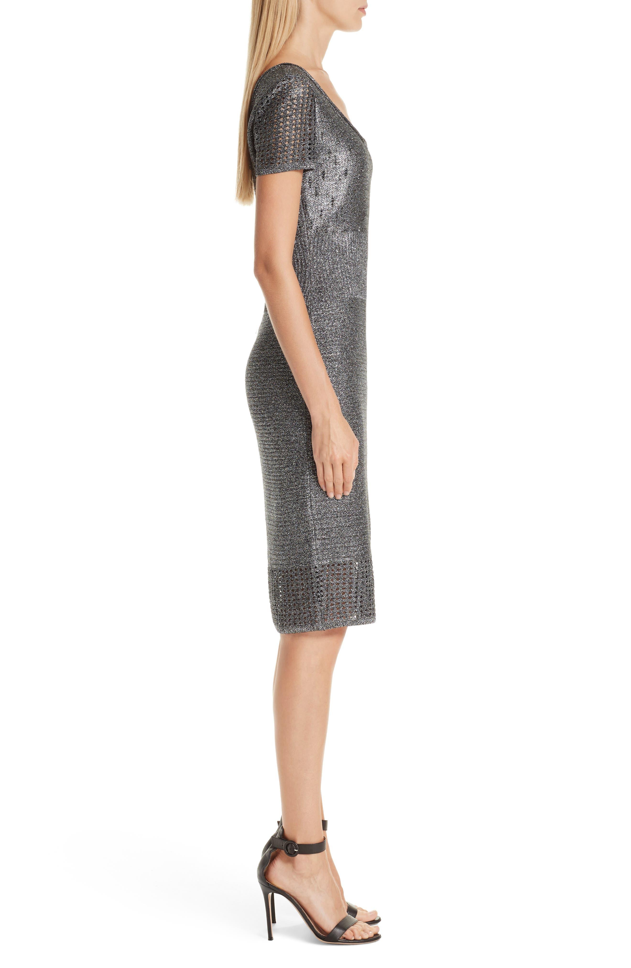 ST. JOHN COLLECTION, Metallic Plaited Mixed Knit Dress, Alternate thumbnail 4, color, GUNMETAL/ CAVIAR