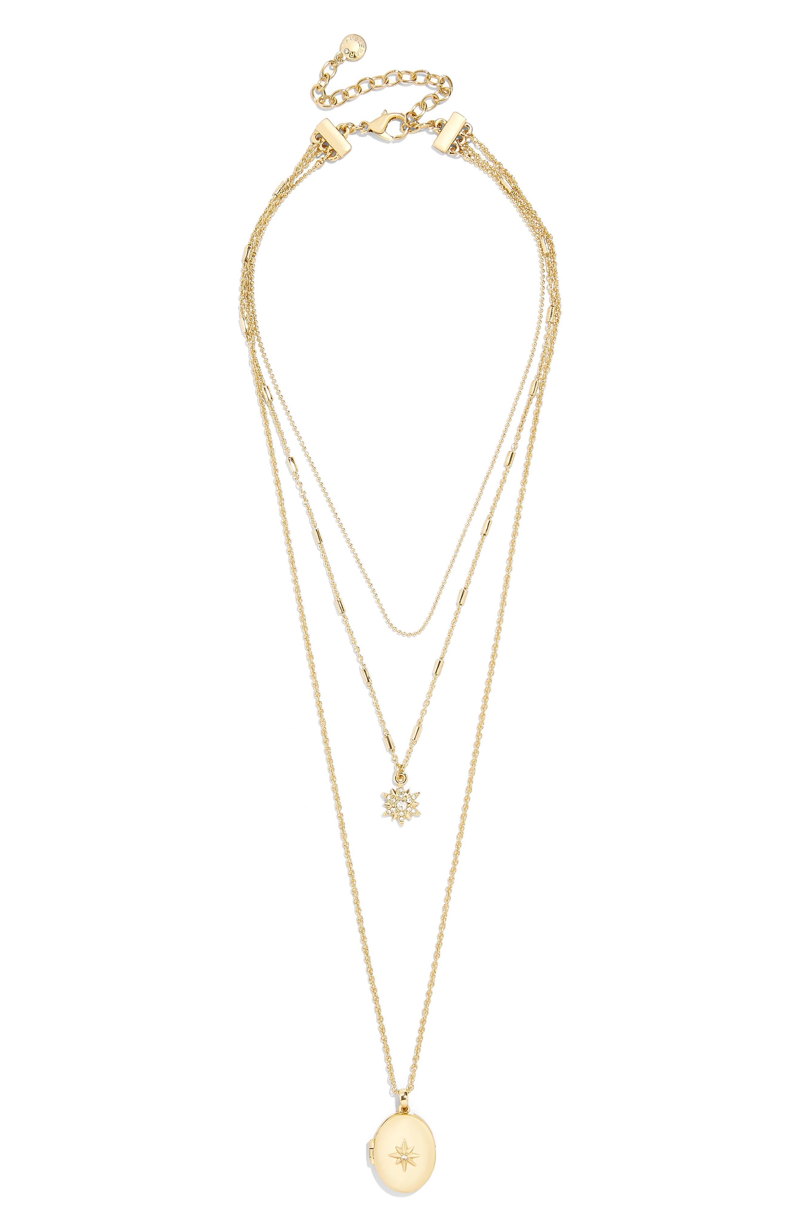 BAUBLEBAR Melisandra Layered Pendant Necklace, Main, color, GOLD
