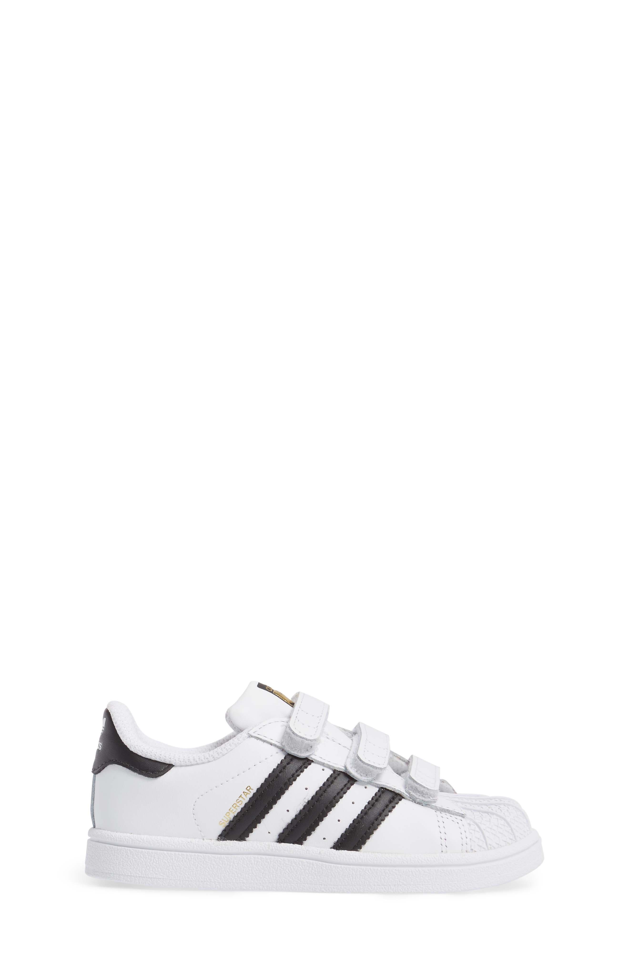 ADIDAS, Superstar Sneaker, Alternate thumbnail 3, color, WHITE/ BLACK/ WHITE