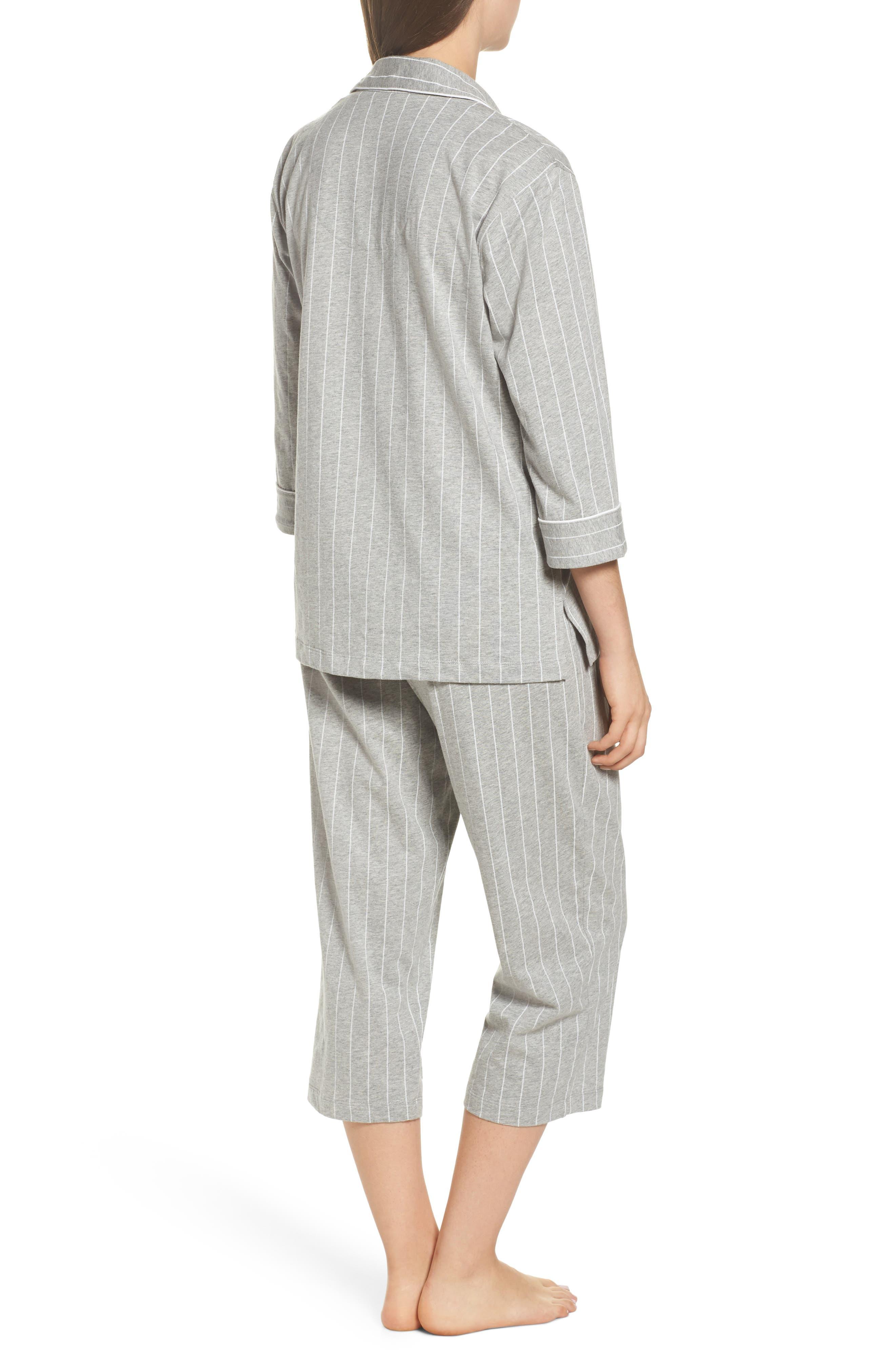 LAUREN RALPH LAUREN, Knit Crop Pajamas, Alternate thumbnail 2, color, GREYSTONE