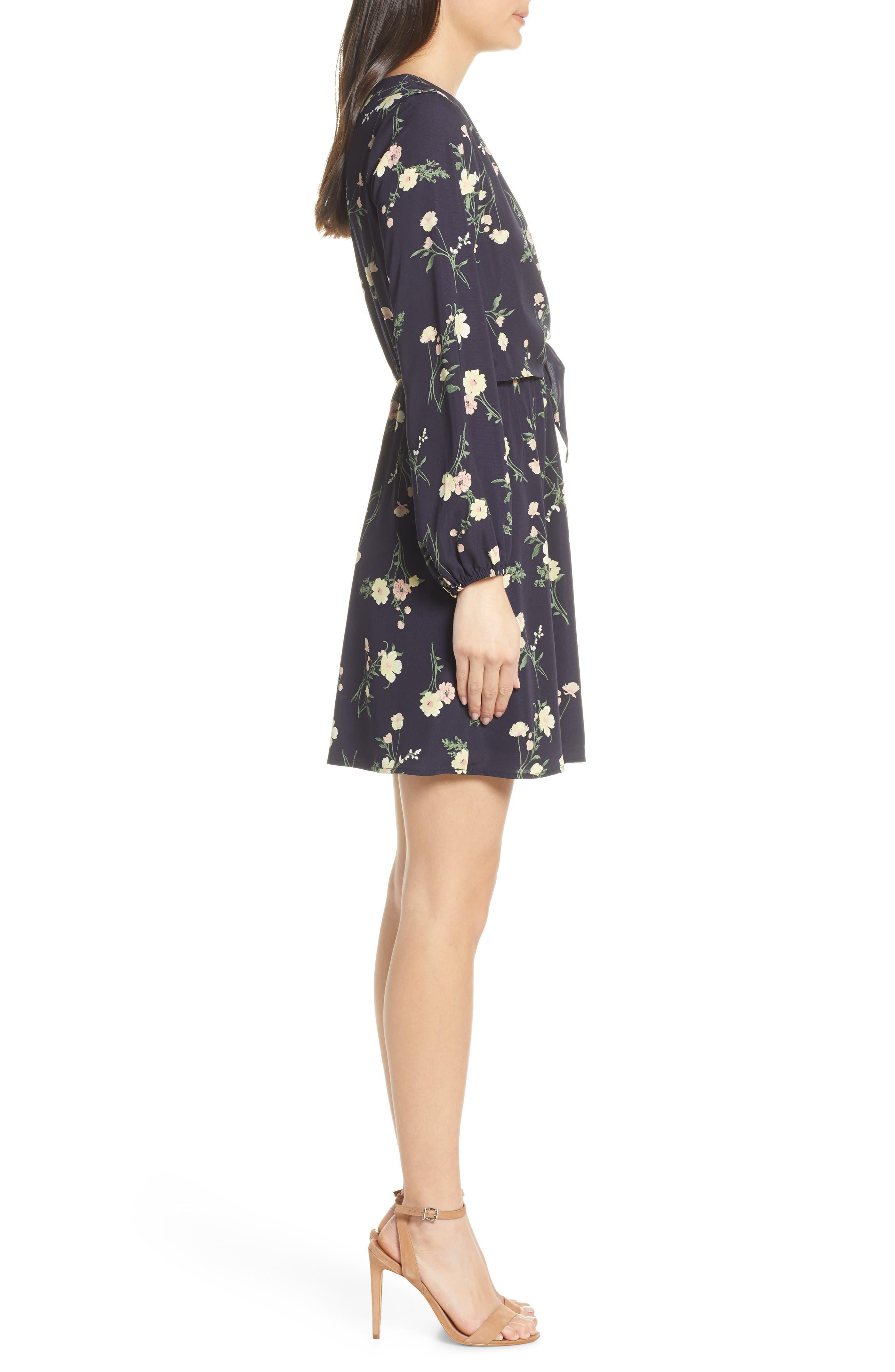 19 COOPER, Long Sleeve Floral Dress, Alternate thumbnail 4, color, NAVY FLORAL