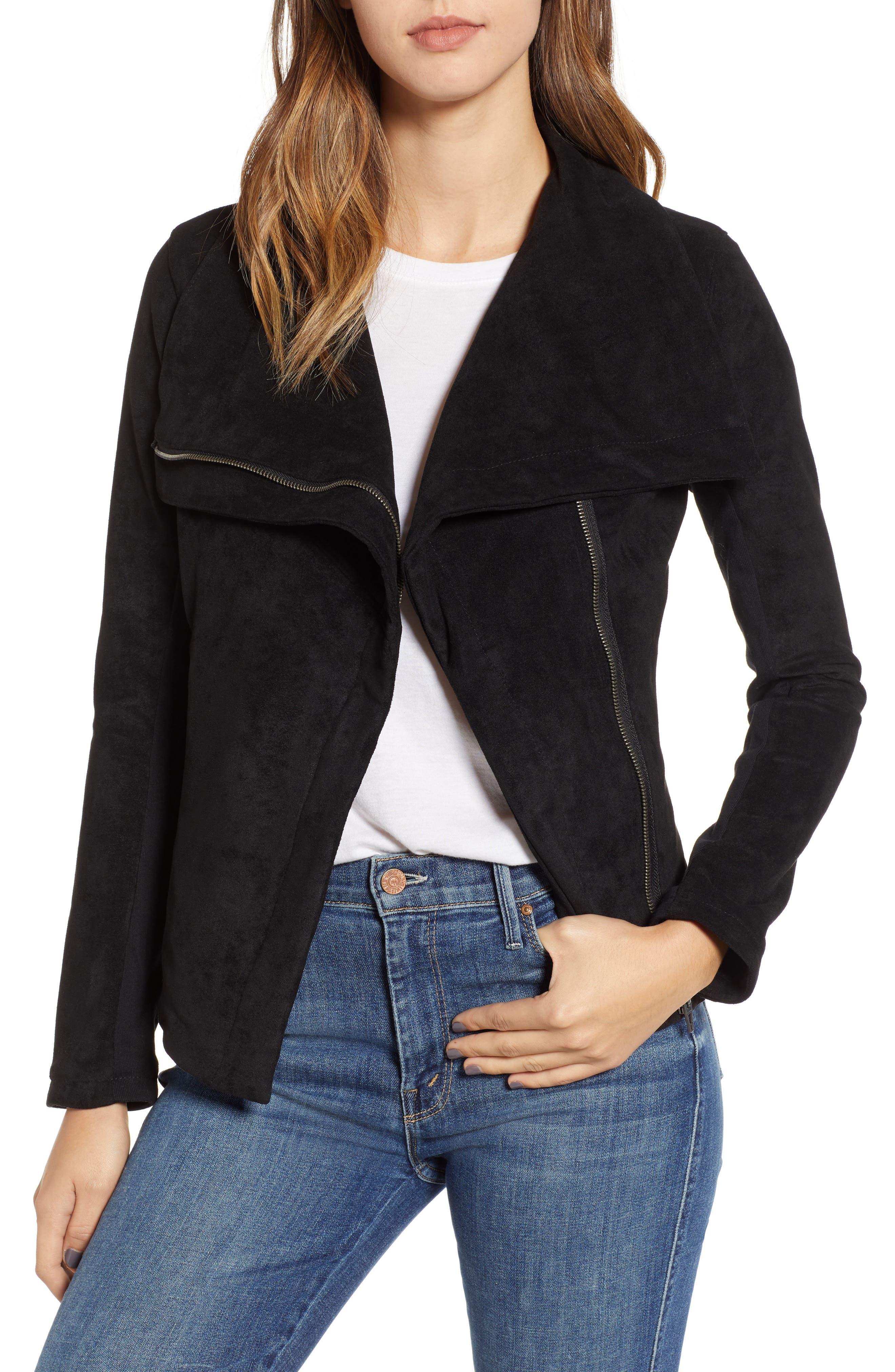 BLANKNYC Legendary Faux Suede Jacket, Main, color, 001