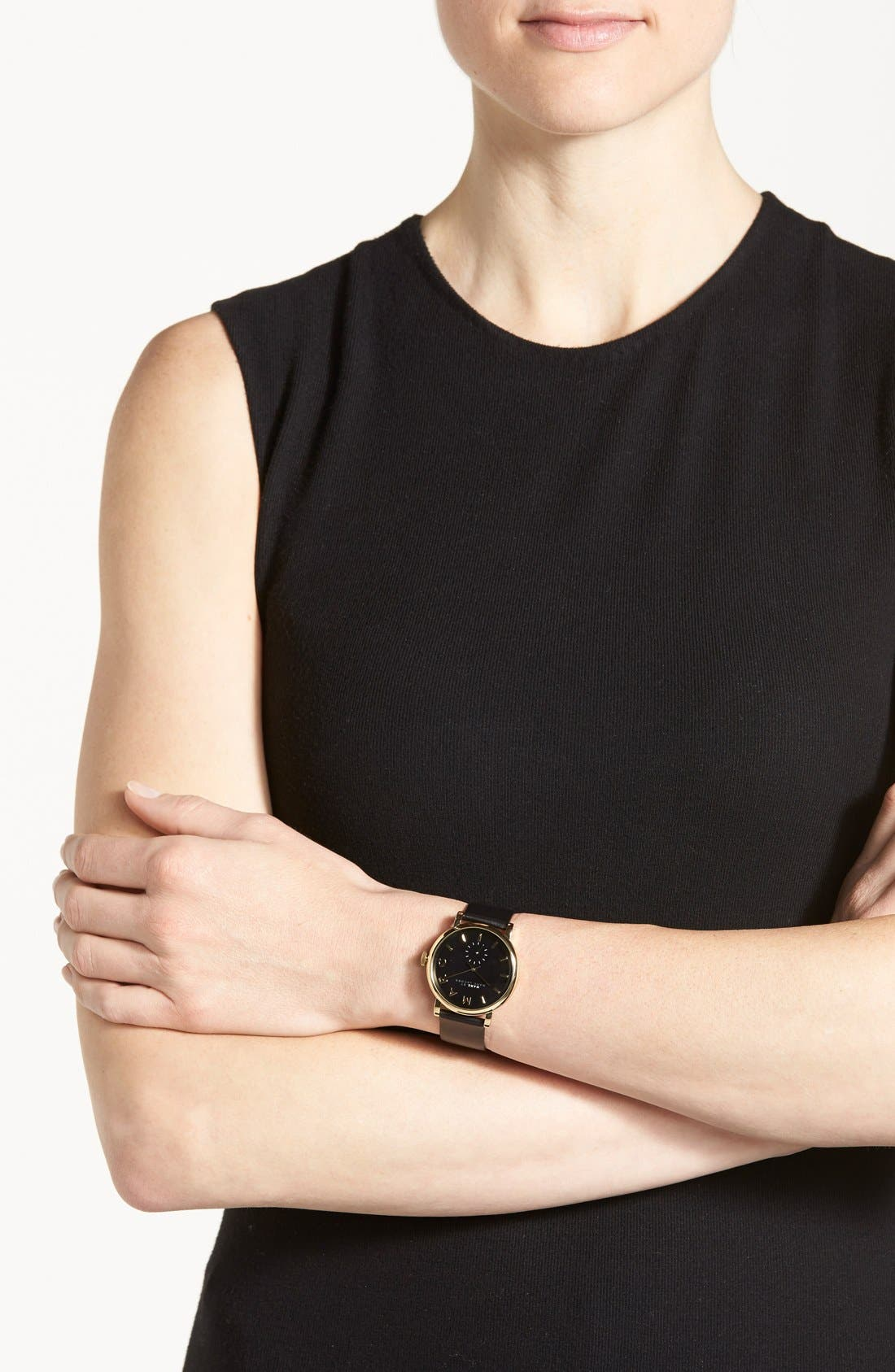 MARC JACOBS, 'Baker' Leather Strap Watch, 37mm, Alternate thumbnail 4, color, 001