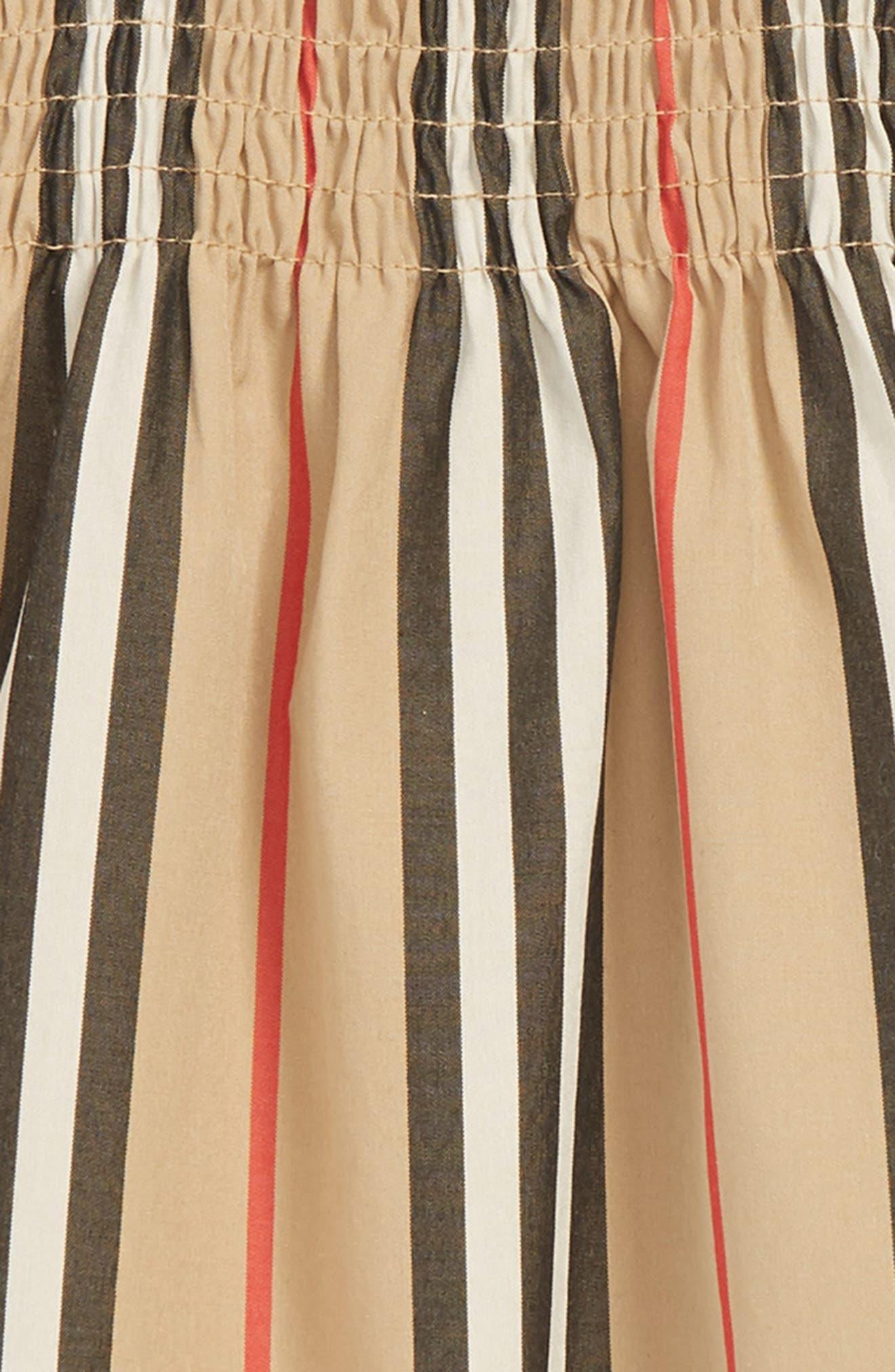 BURBERRY, Mini Junia Stripe Dress, Alternate thumbnail 3, color, BEIGE