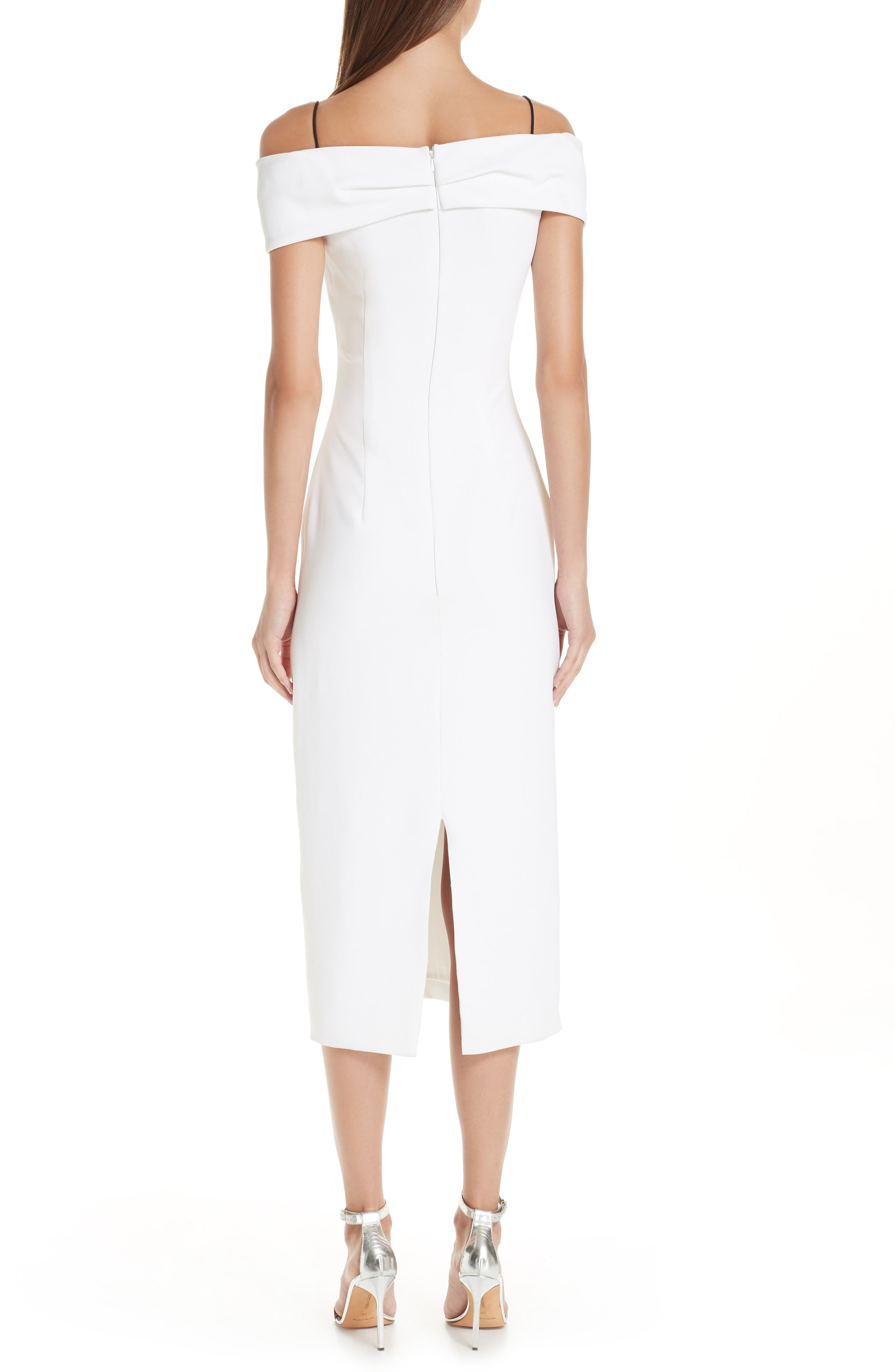 CUSHNIE, Layered Off the Shoulder Dress, Alternate thumbnail 2, color, WHITE/ BLACK