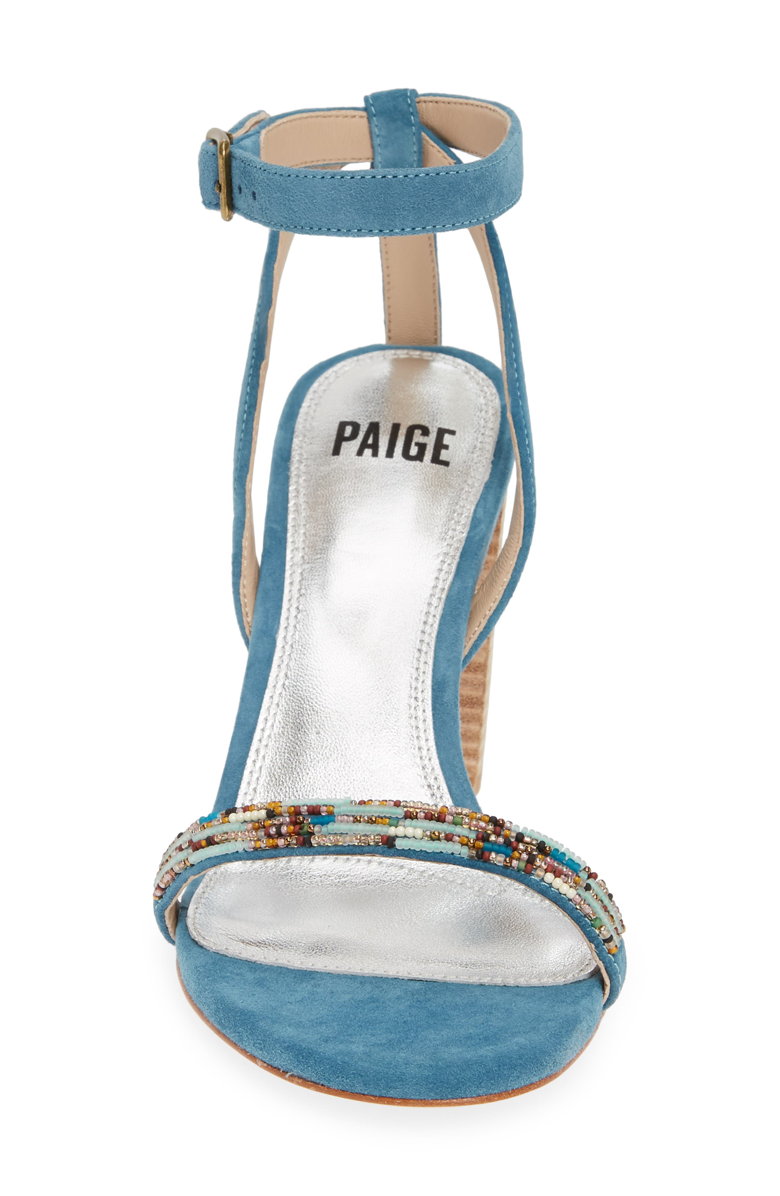 PAIGE, Gabriella Beaded Sandal, Alternate thumbnail 4, color, BLUE