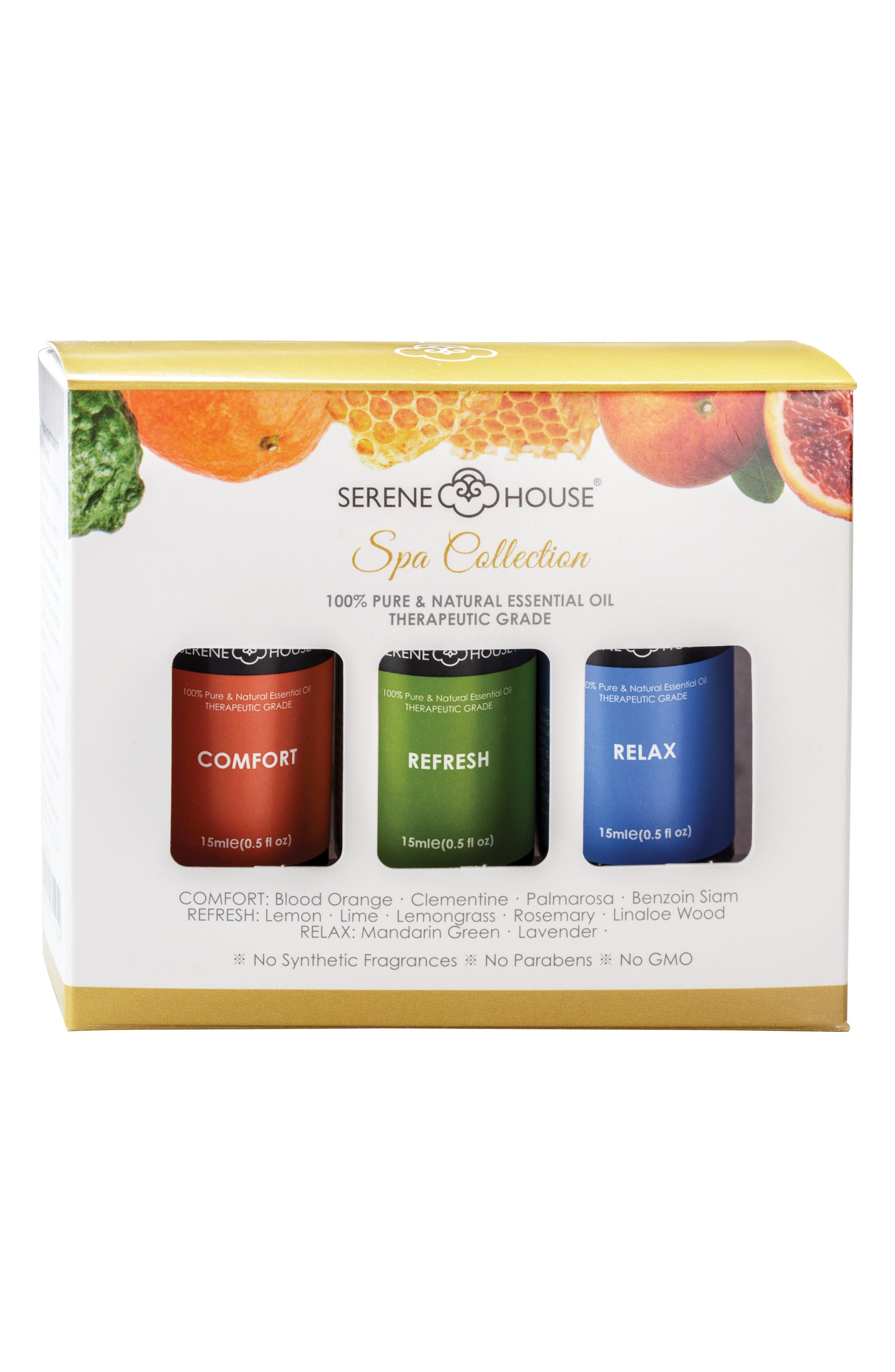 SERENE HOUSE, Pure & Natural 3-Pack Essential Oils, Alternate thumbnail 2, color, SPA