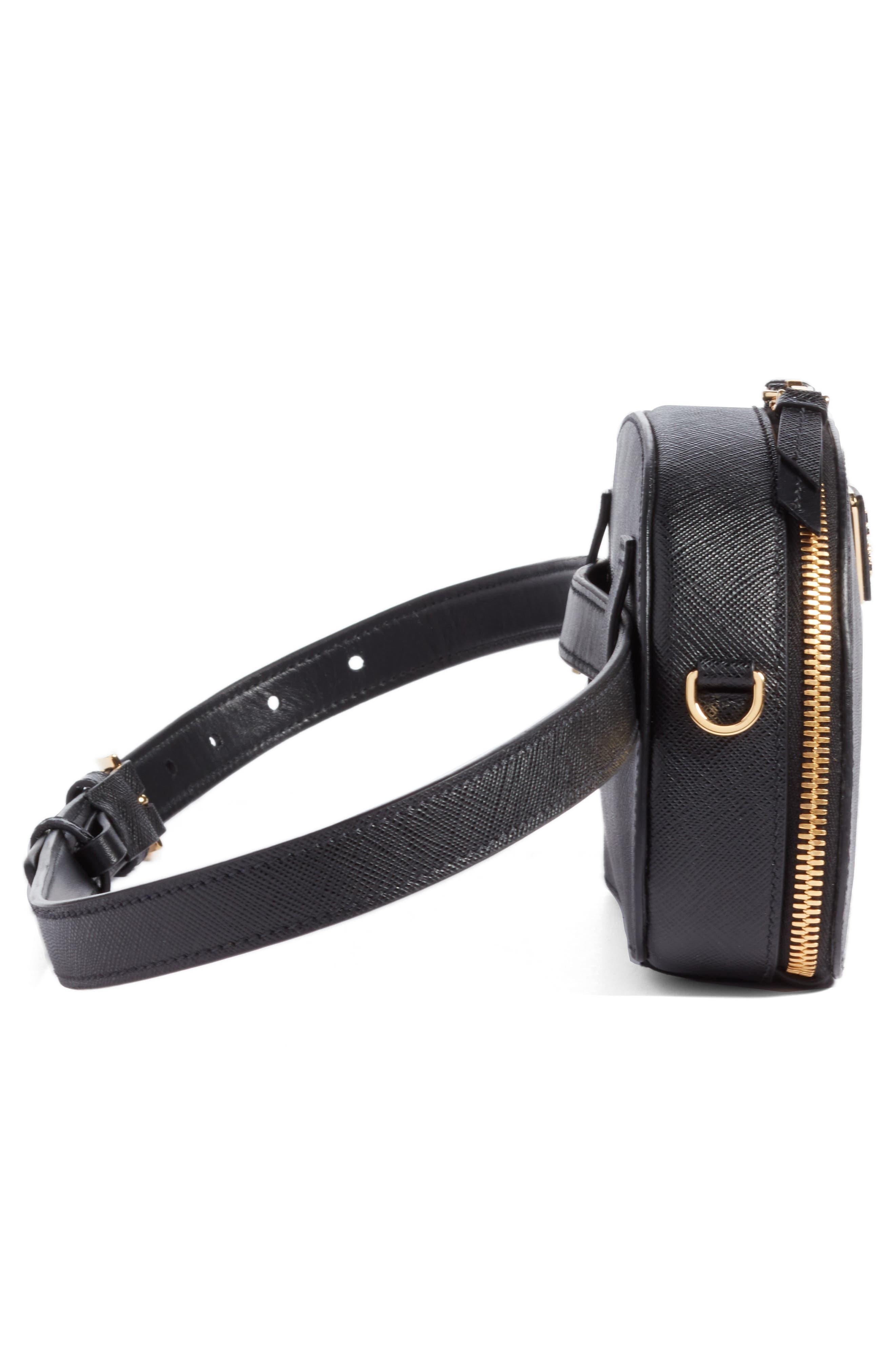 PRADA, Saffiano Leather Belt Bag, Alternate thumbnail 6, color, 001