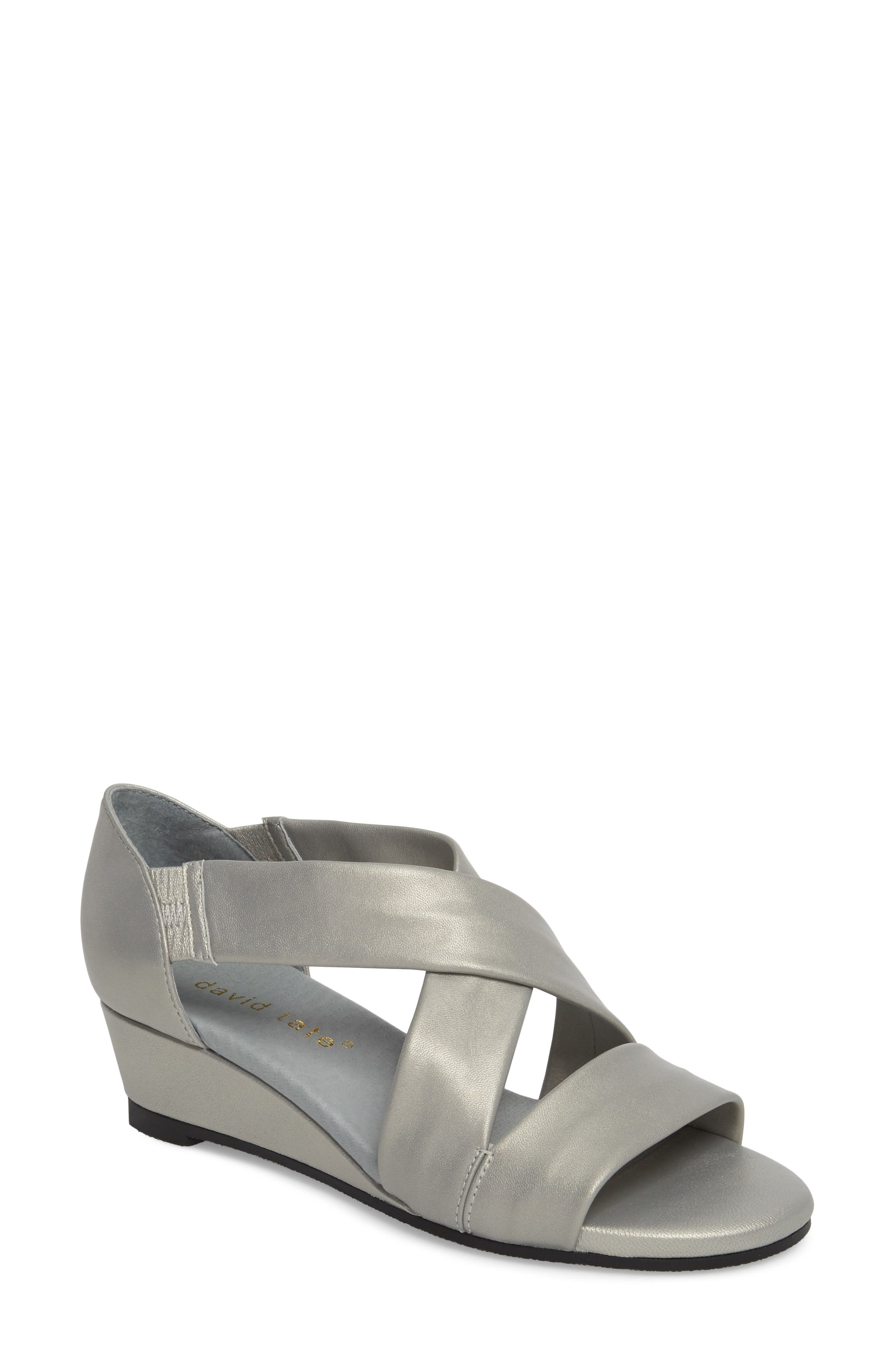 DAVID TATE, Swell Cross Strap Wedge Sandal, Main thumbnail 1, color, SILVER LEATHER