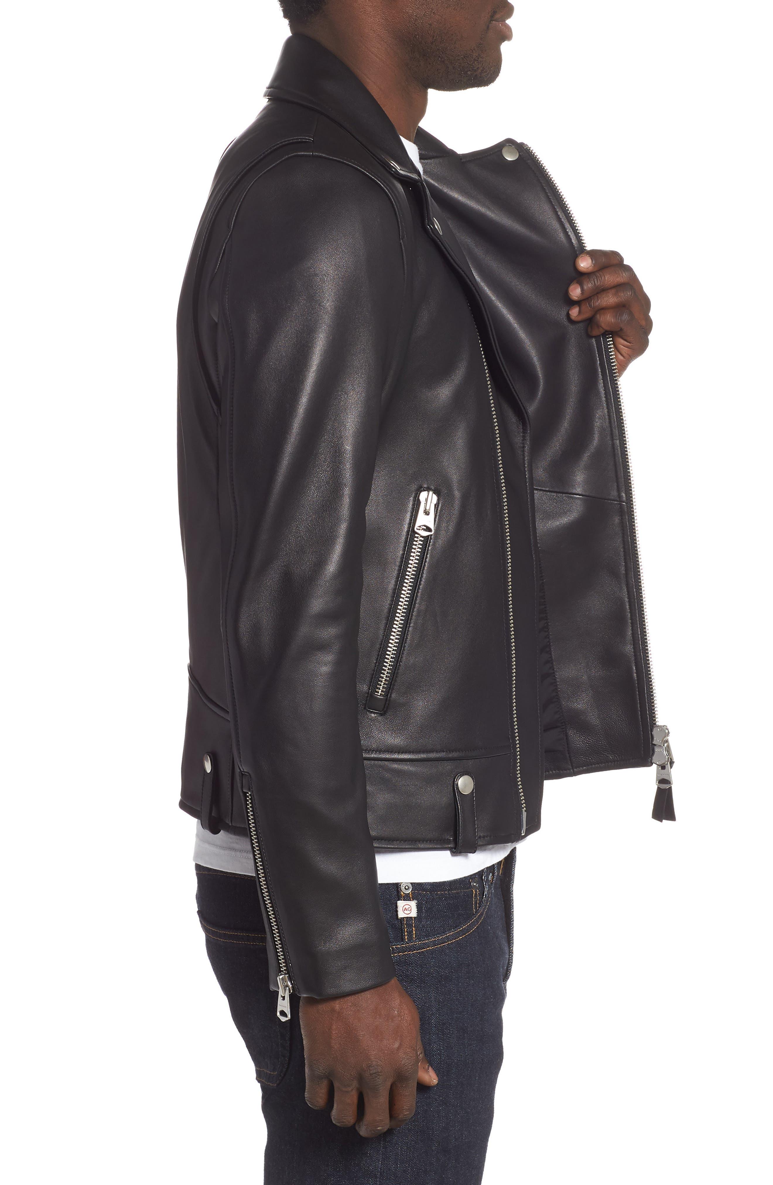 MACKAGE, Fenton Leather Moto Jacket, Alternate thumbnail 3, color, BLACK