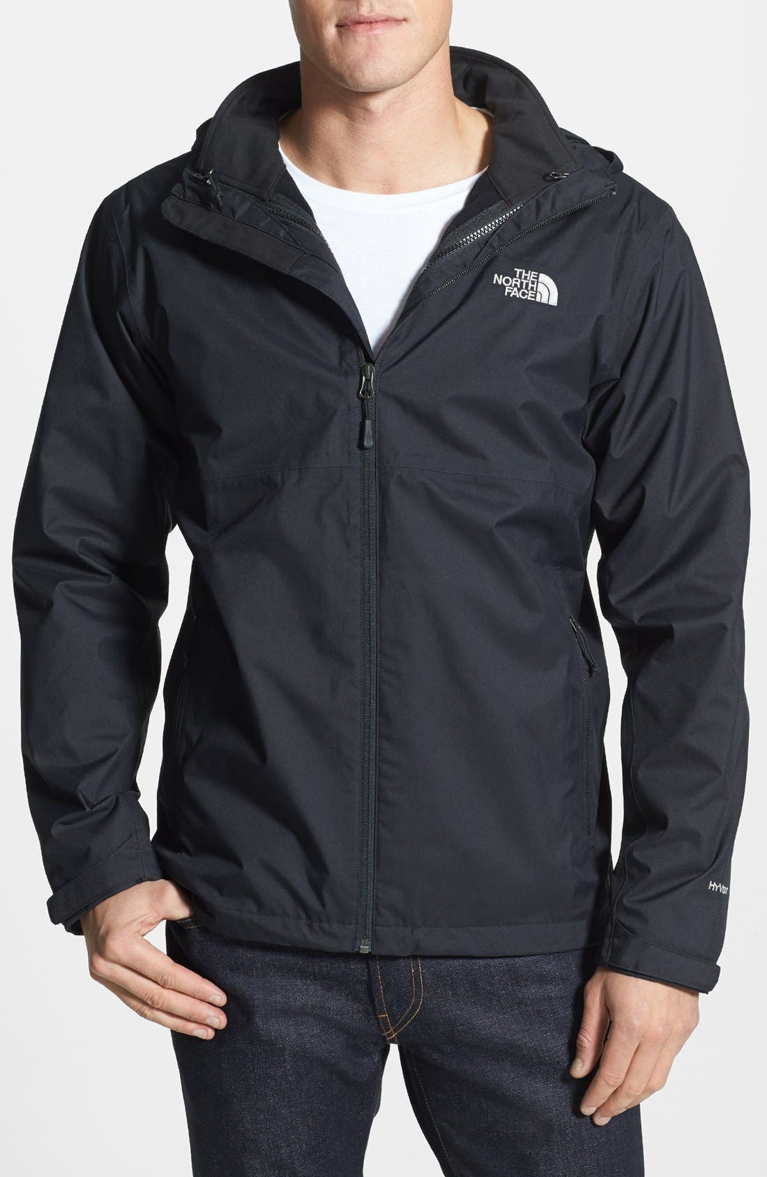 THE NORTH FACE, 'Momentum TriClimate' 3-in-1 Waterproof Hooded Jacket, Main thumbnail 1, color, 001