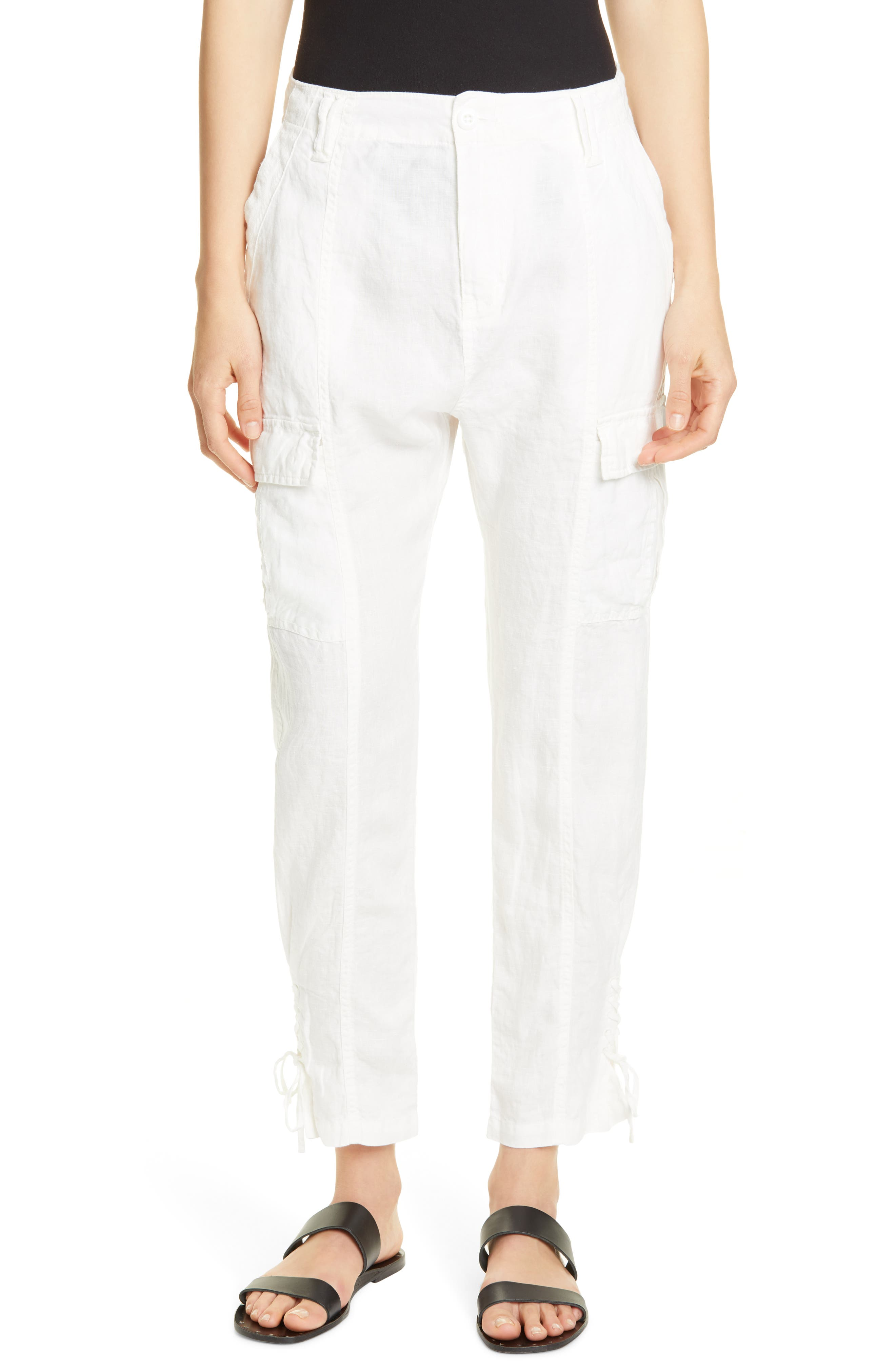 Joie Telutci Tie Cuff Linen Cargo Pants, Ivory