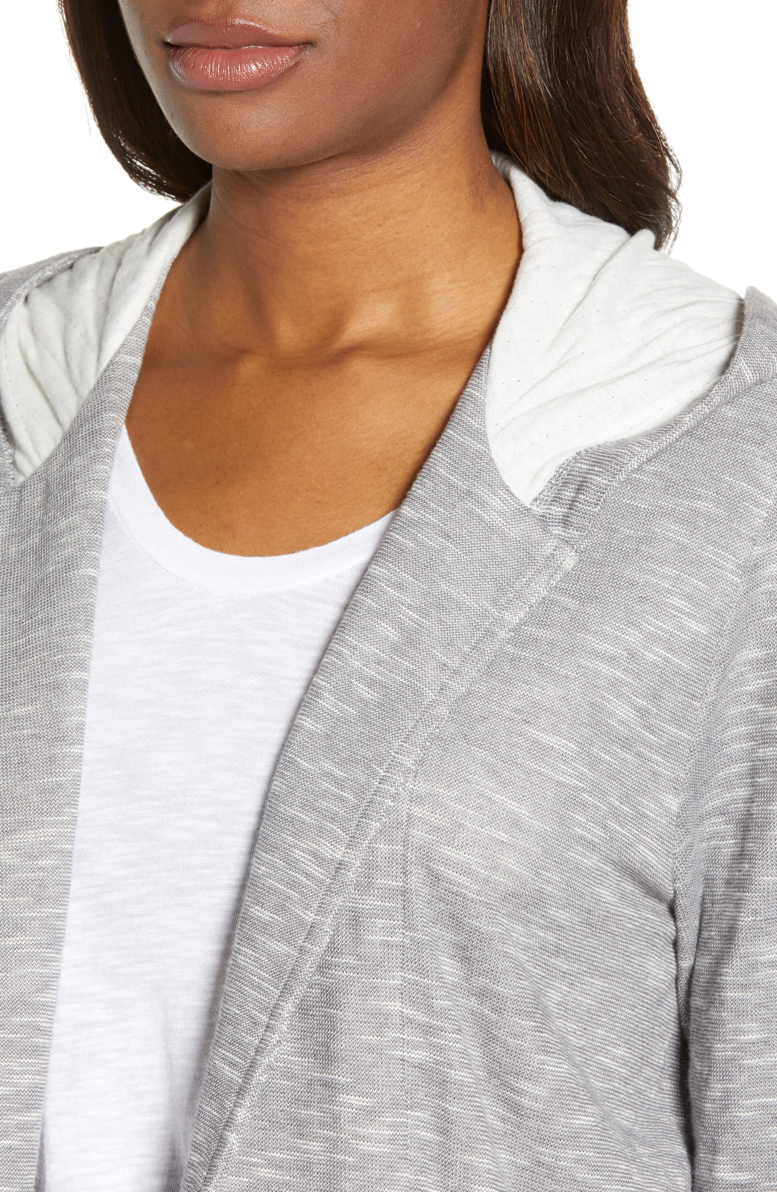 CASLON<SUP>®</SUP>, Open Front Hooded Cardigan, Alternate thumbnail 5, color, GREY- IVORY SPACEDYE