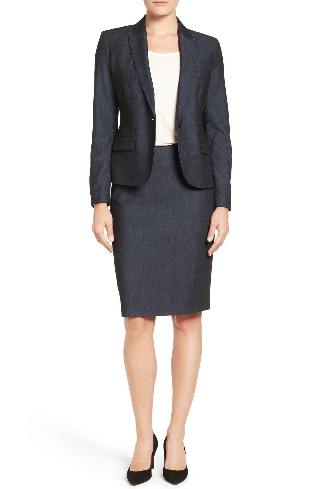 ANNE KLEIN, Stretch Woven Suit Skirt, Alternate thumbnail 3, color, INDIGO TWILL