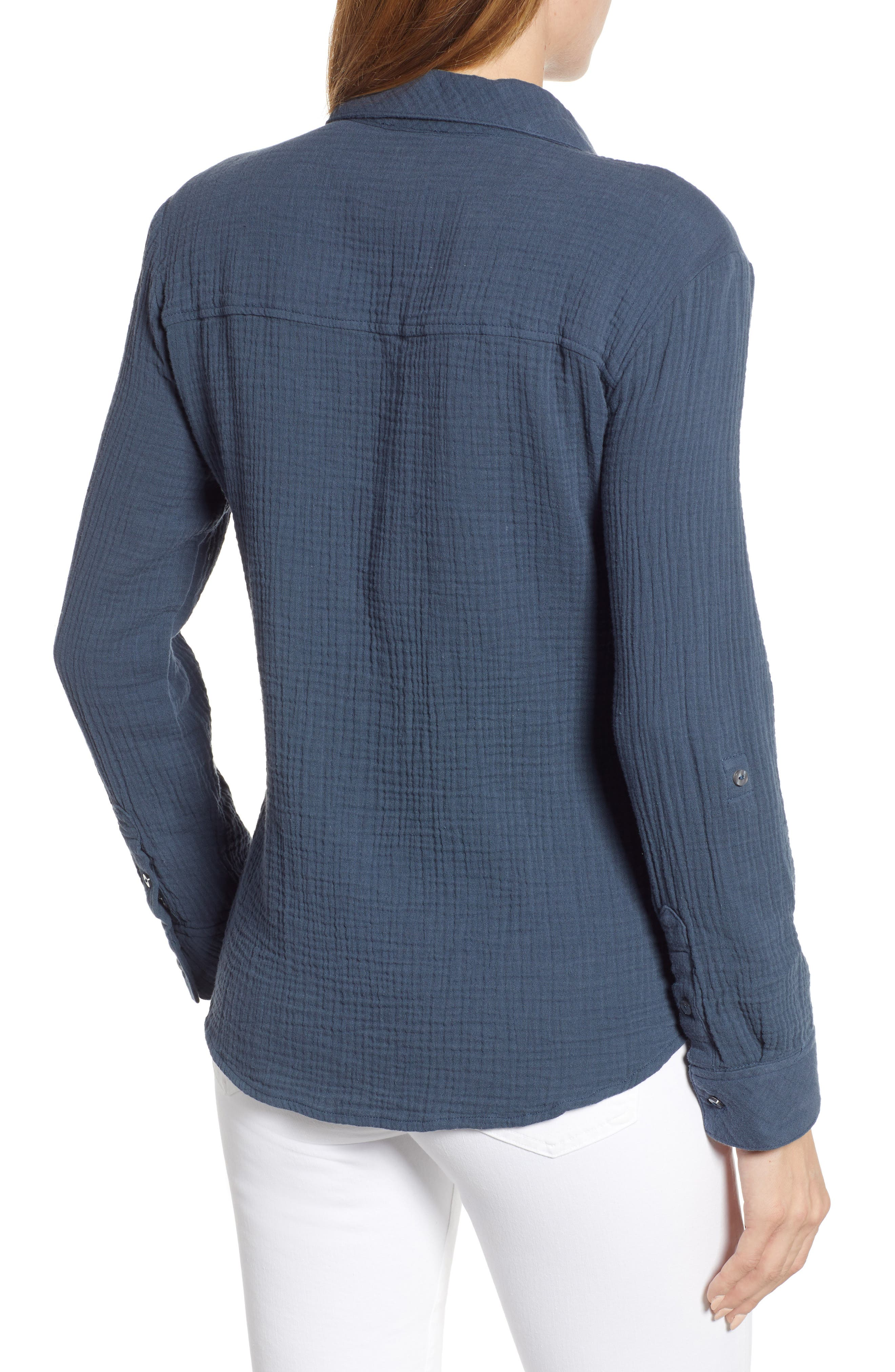 1.STATE, Patch Pocket Gauze Top, Alternate thumbnail 2, color, MIDNIGHT SKY