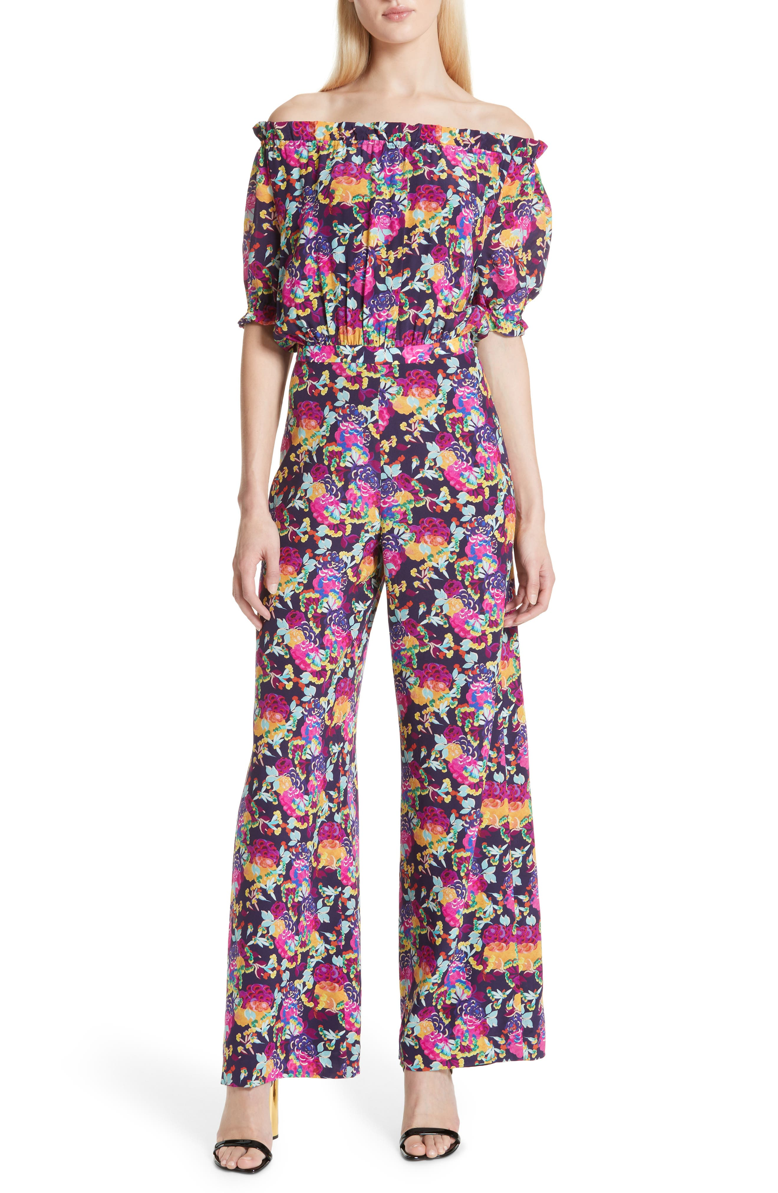 SALONI Juli Off the Shoulder Silk Jumpsuit, Main, color, CAMELLIA