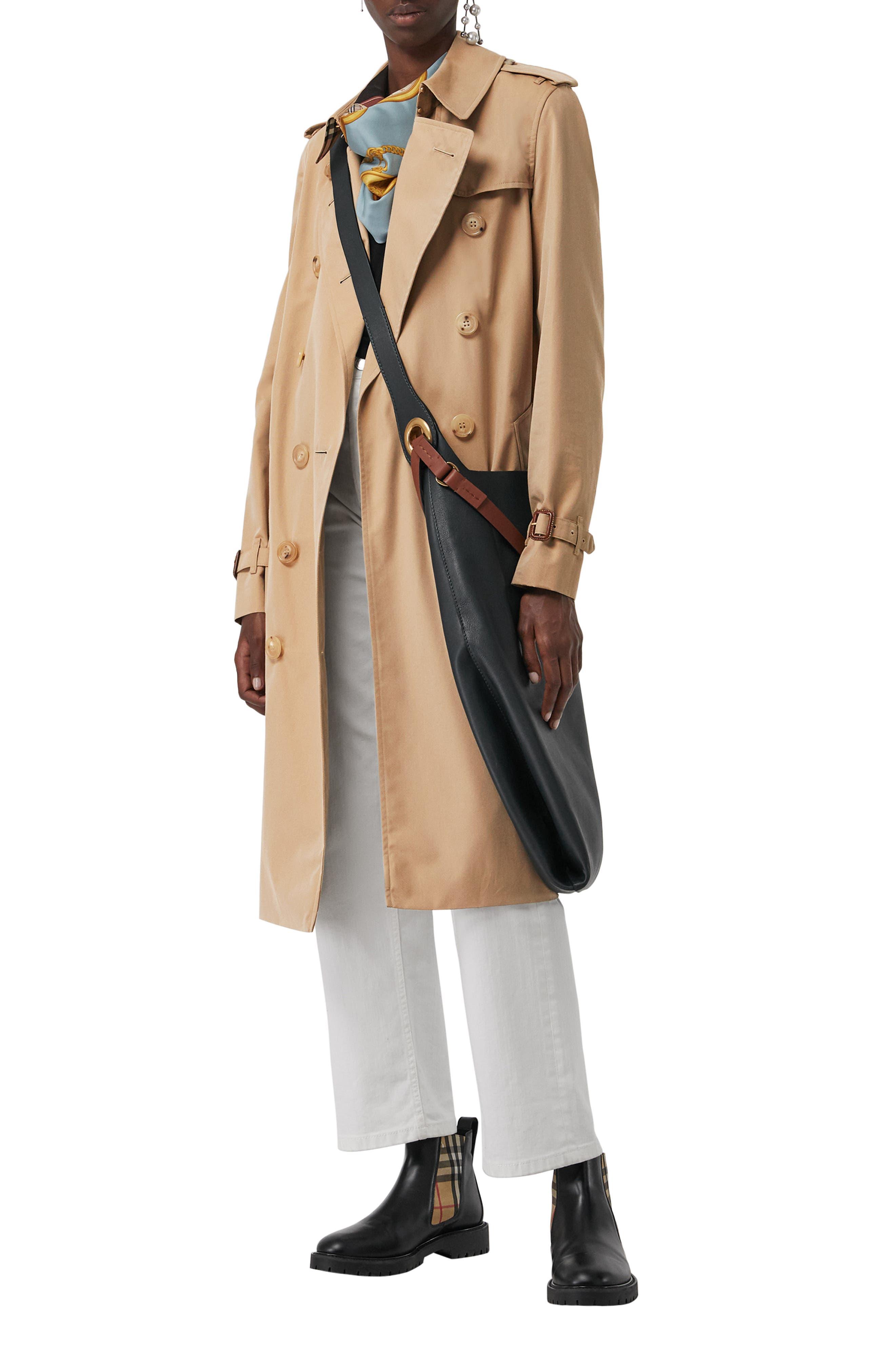 BURBERRY, Kensington Long Trench Coat, Alternate thumbnail 6, color, DARK HONEY