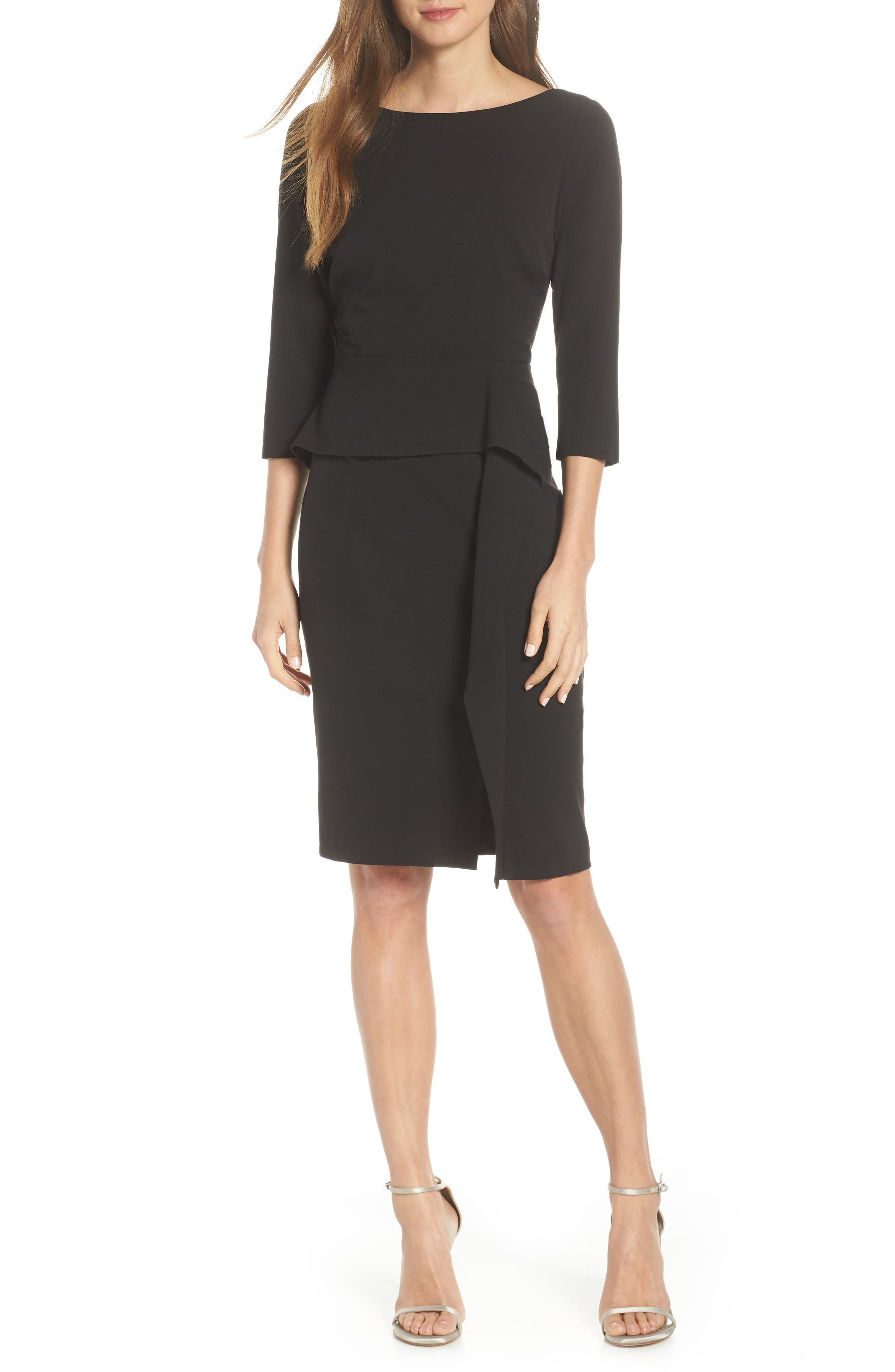 VINCE CAMUTO, Angled Ruffle Sheath Dress, Main thumbnail 1, color, BLACK
