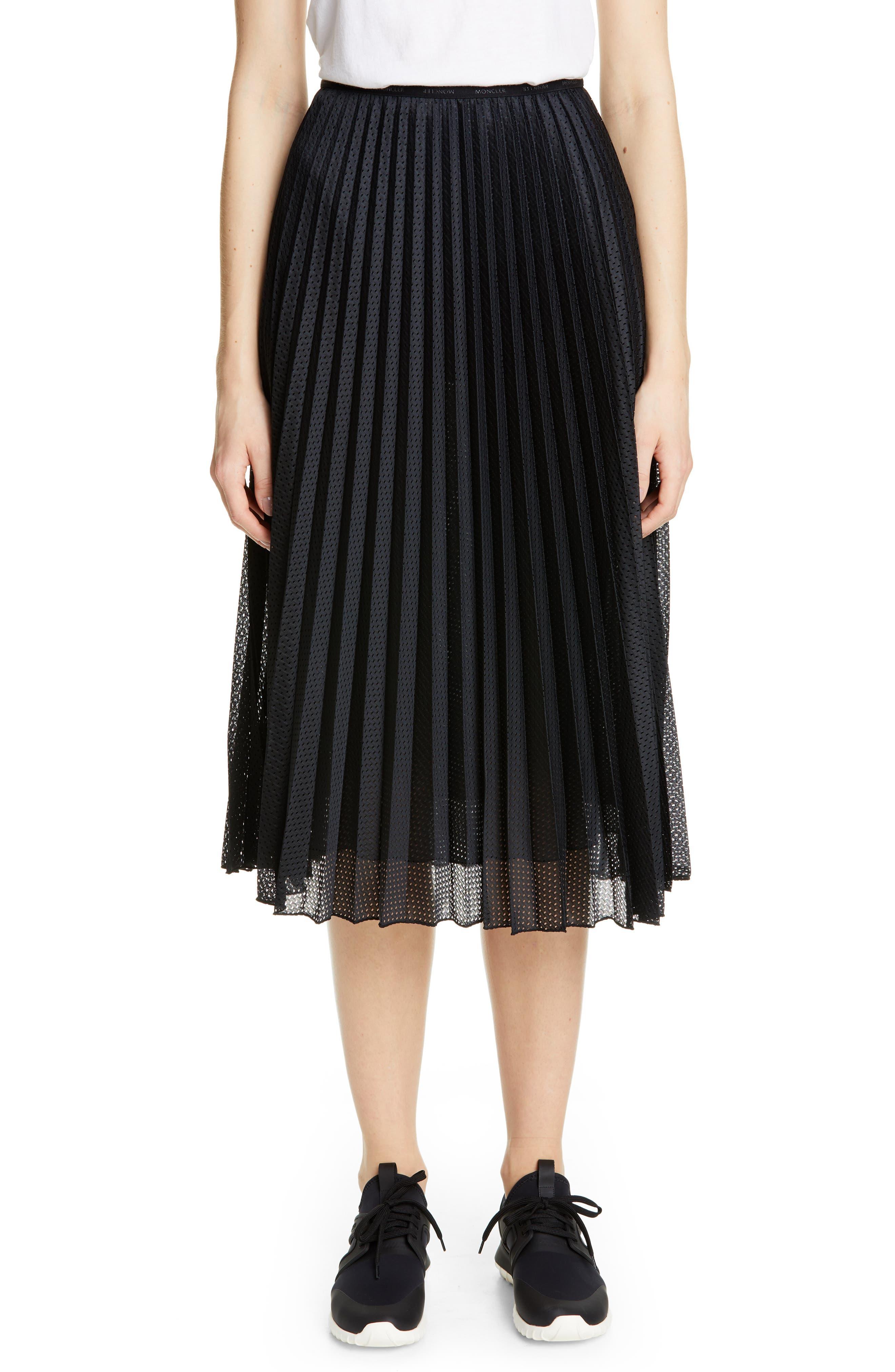 MONCLER, Pleated Mesh Skirt, Main thumbnail 1, color, 001