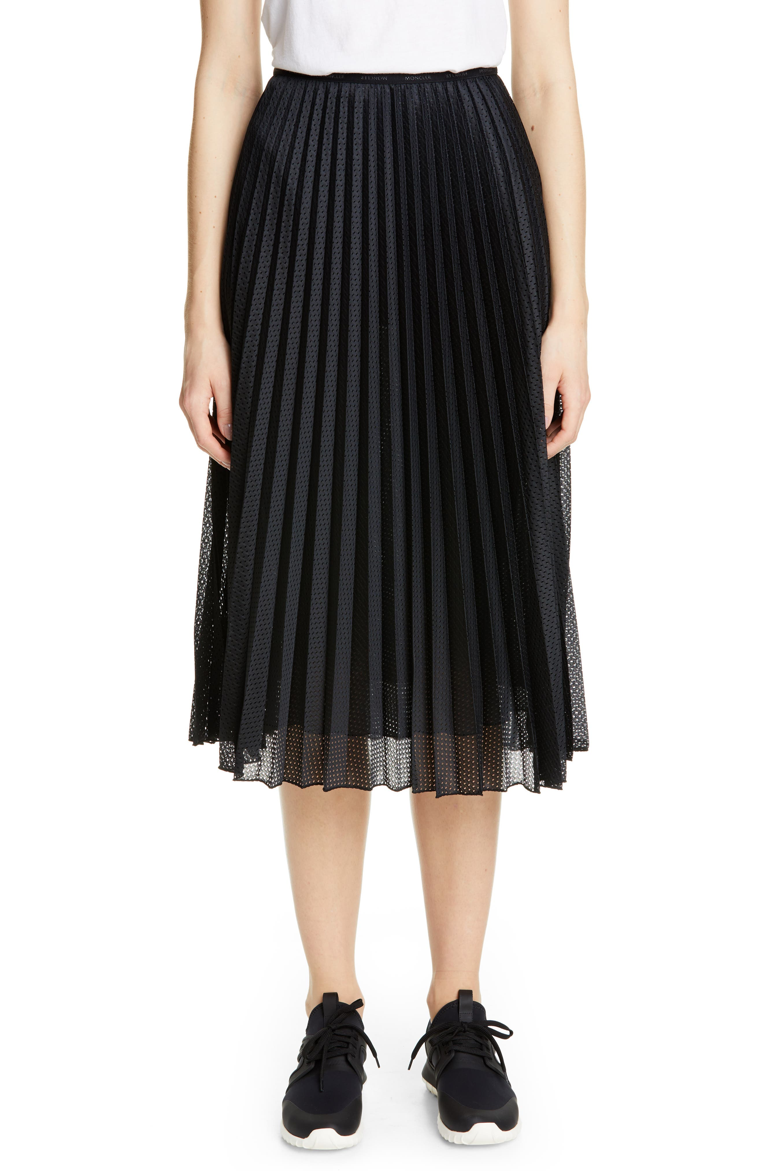 MONCLER Pleated Mesh Skirt, Main, color, 001
