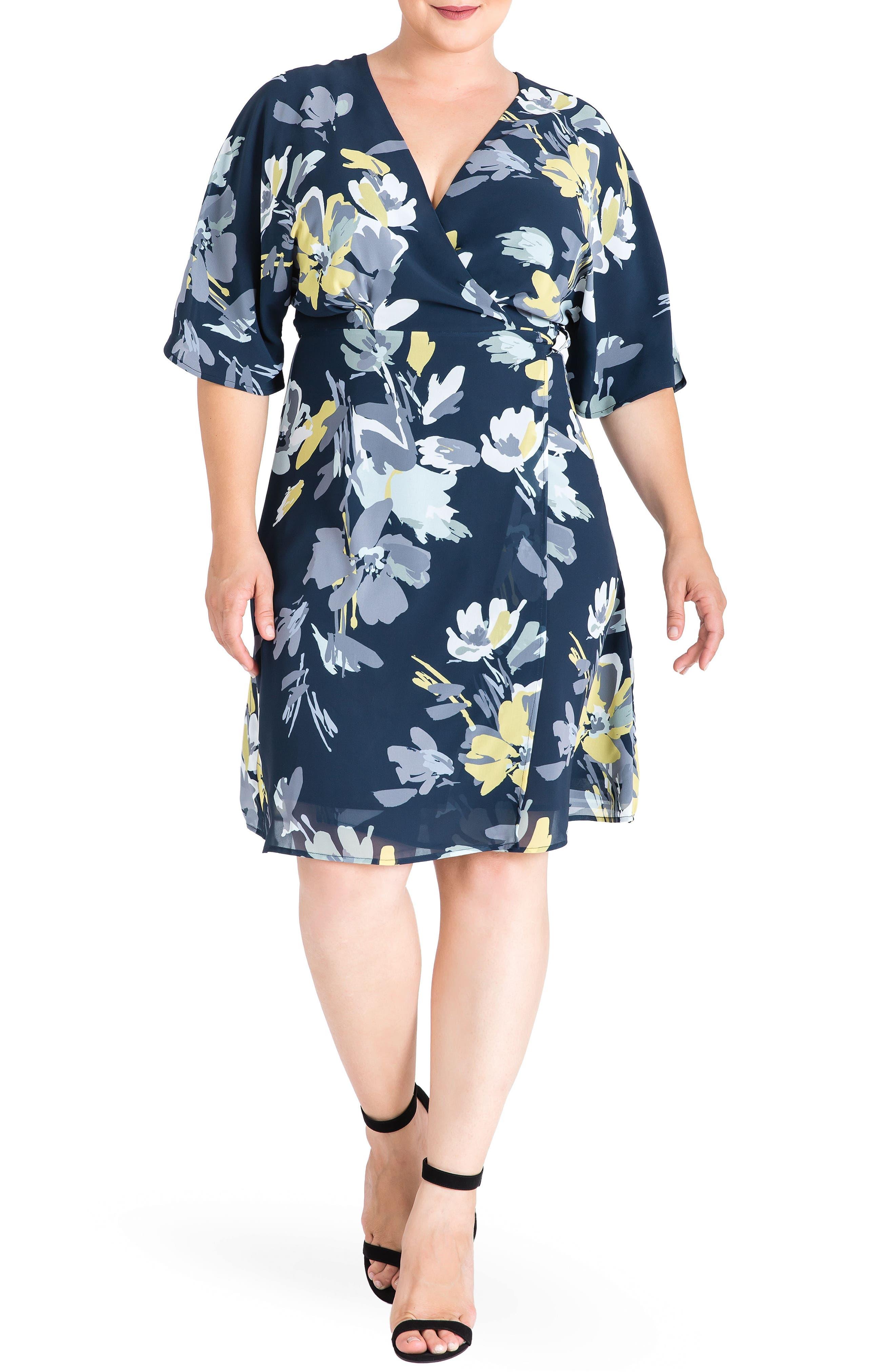 STANDARDS & PRACTICES, Candice Georgette Wrap Dress, Main thumbnail 1, color, NAVY PETALS