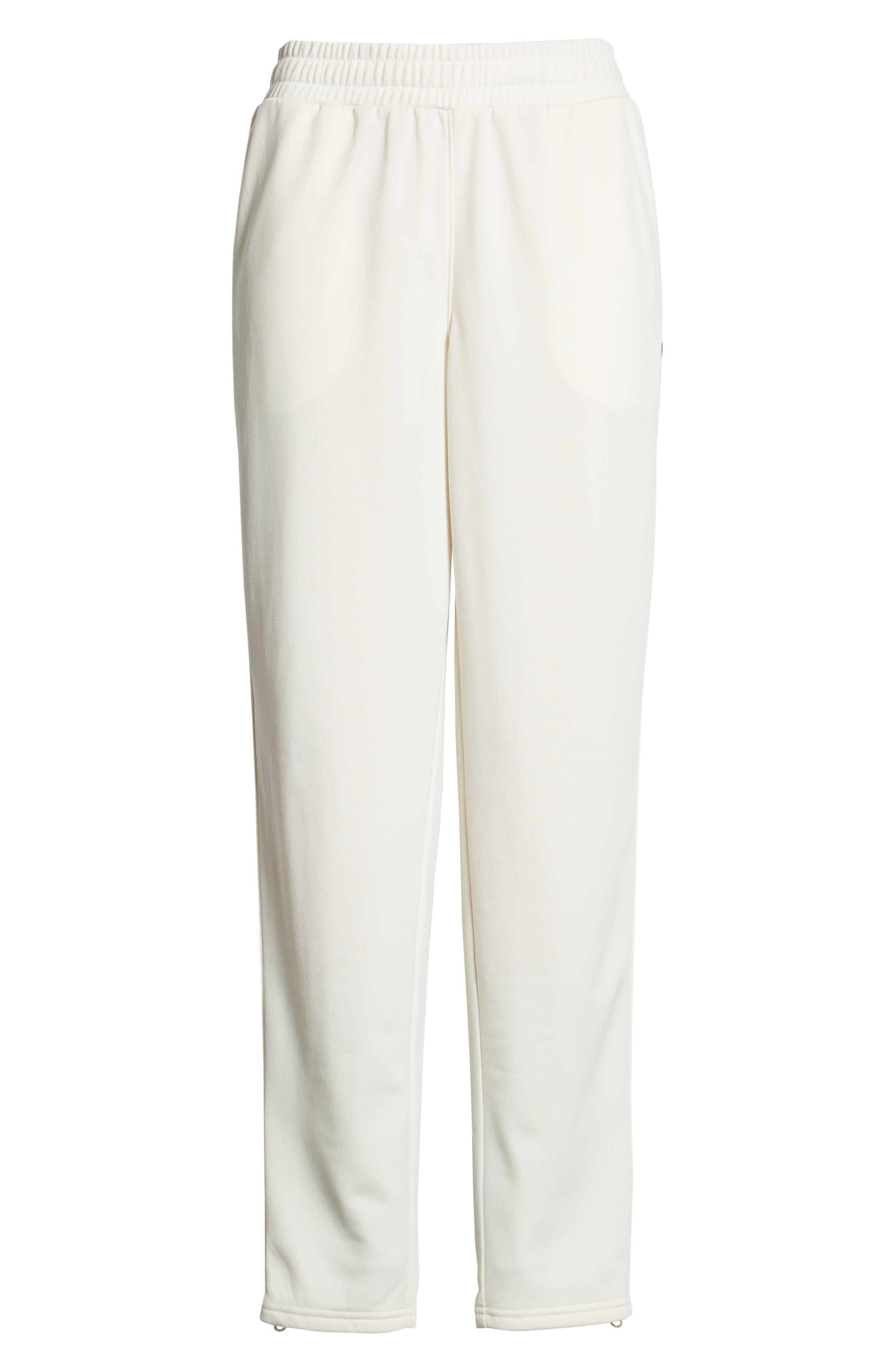 CHAMPION, Side Stripe Track Pants, Alternate thumbnail 7, color, CHALK WHITE