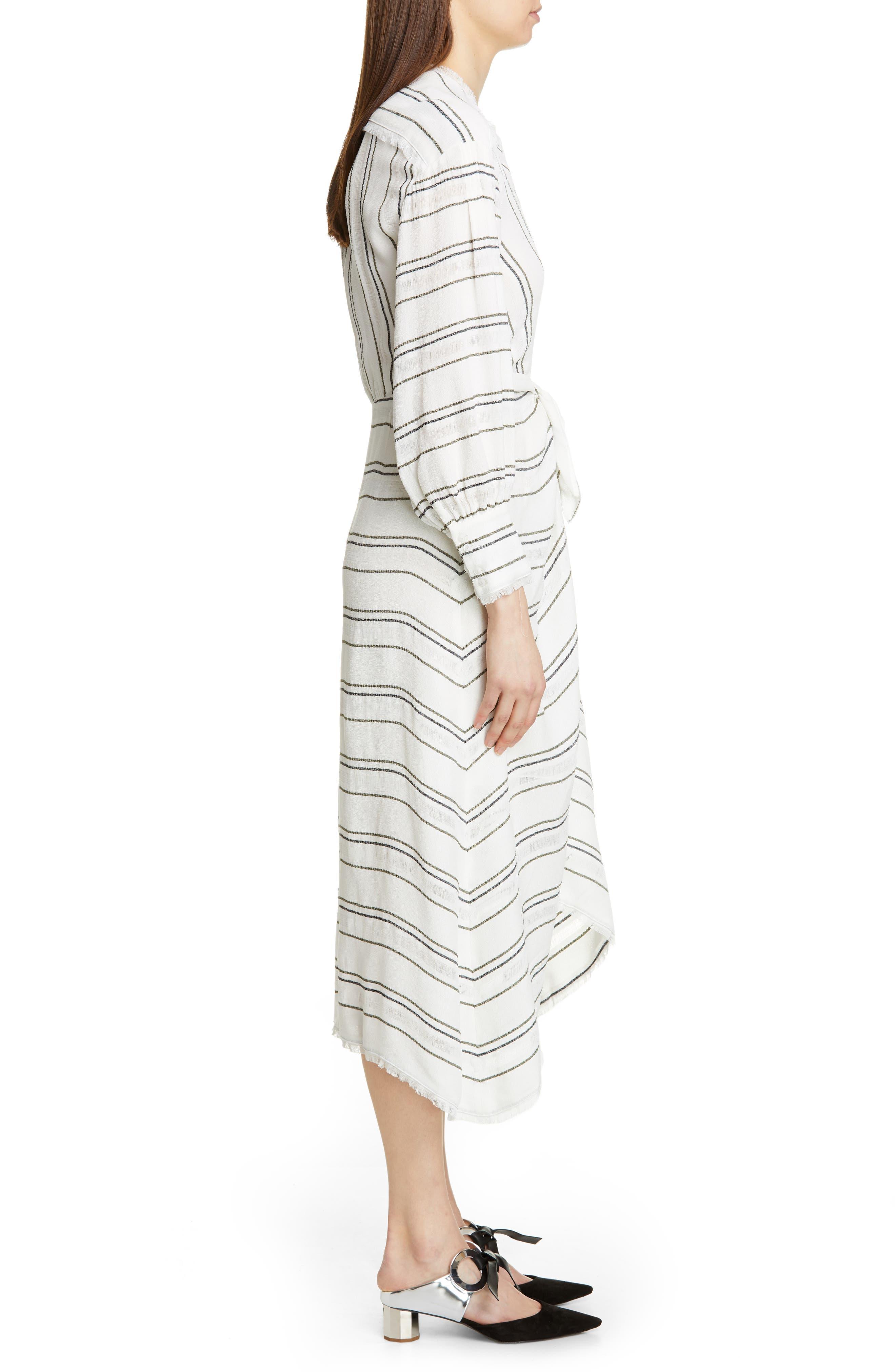 PROENZA SCHOULER, Tie Front Stripe Crepe Dress, Alternate thumbnail 4, color, WHITE