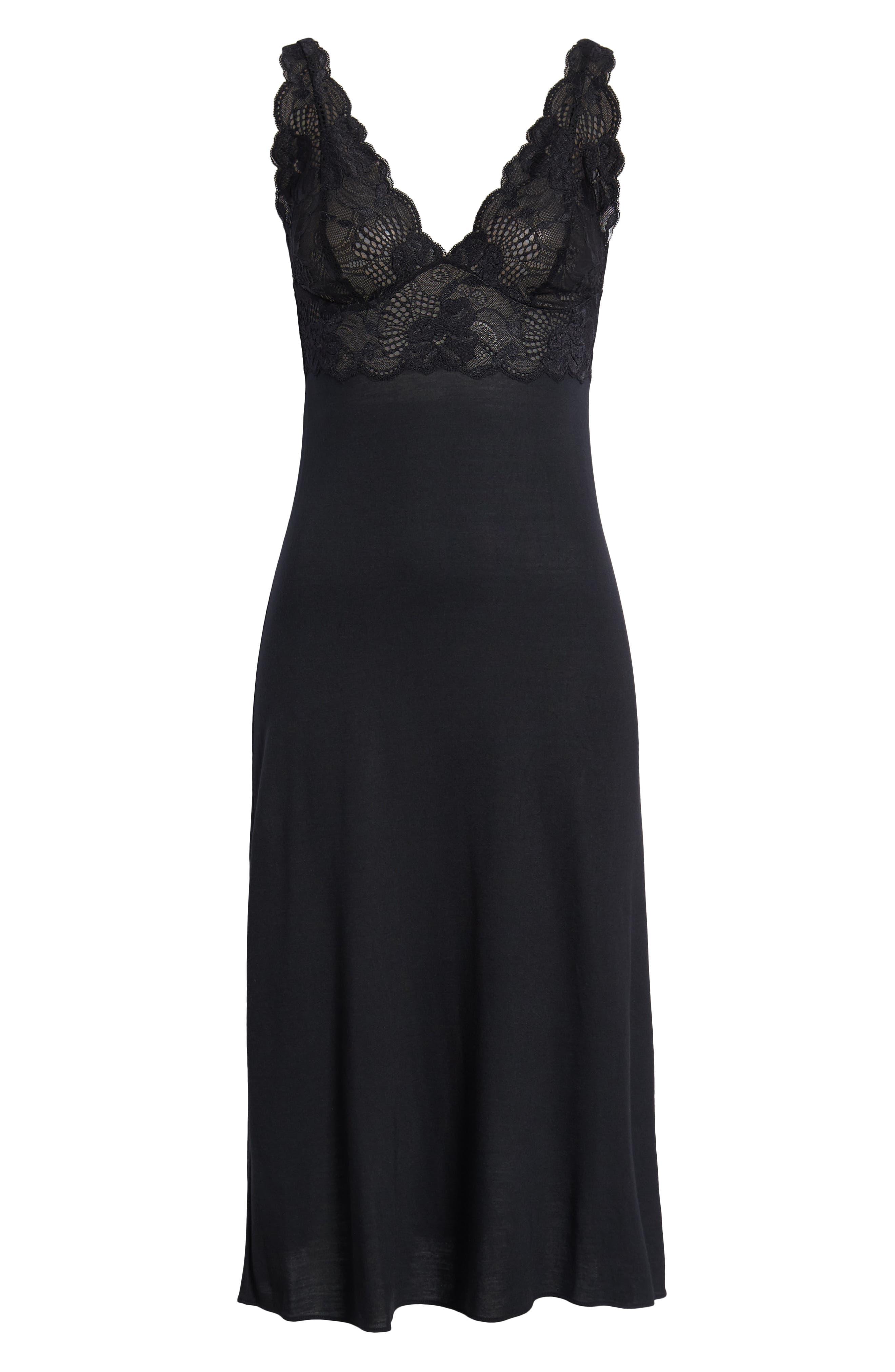 NATORI, 'Zen Floral' Nightgown, Alternate thumbnail 2, color, BLACK
