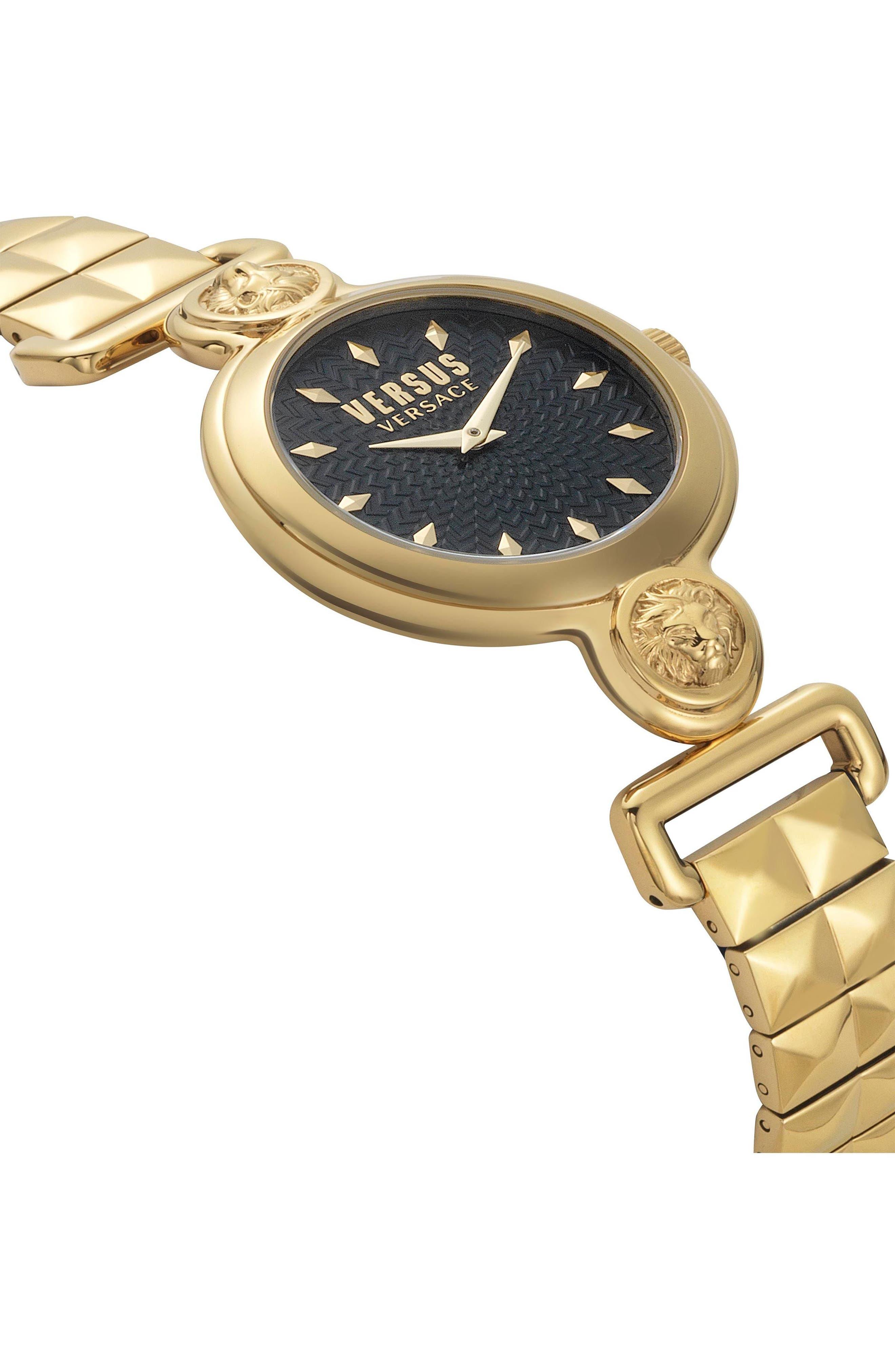 VERSUS VERSACE, Sunnyridge Bracelet Watch, 34mm, Alternate thumbnail 3, color, GOLD/ BLACK/ GOLD