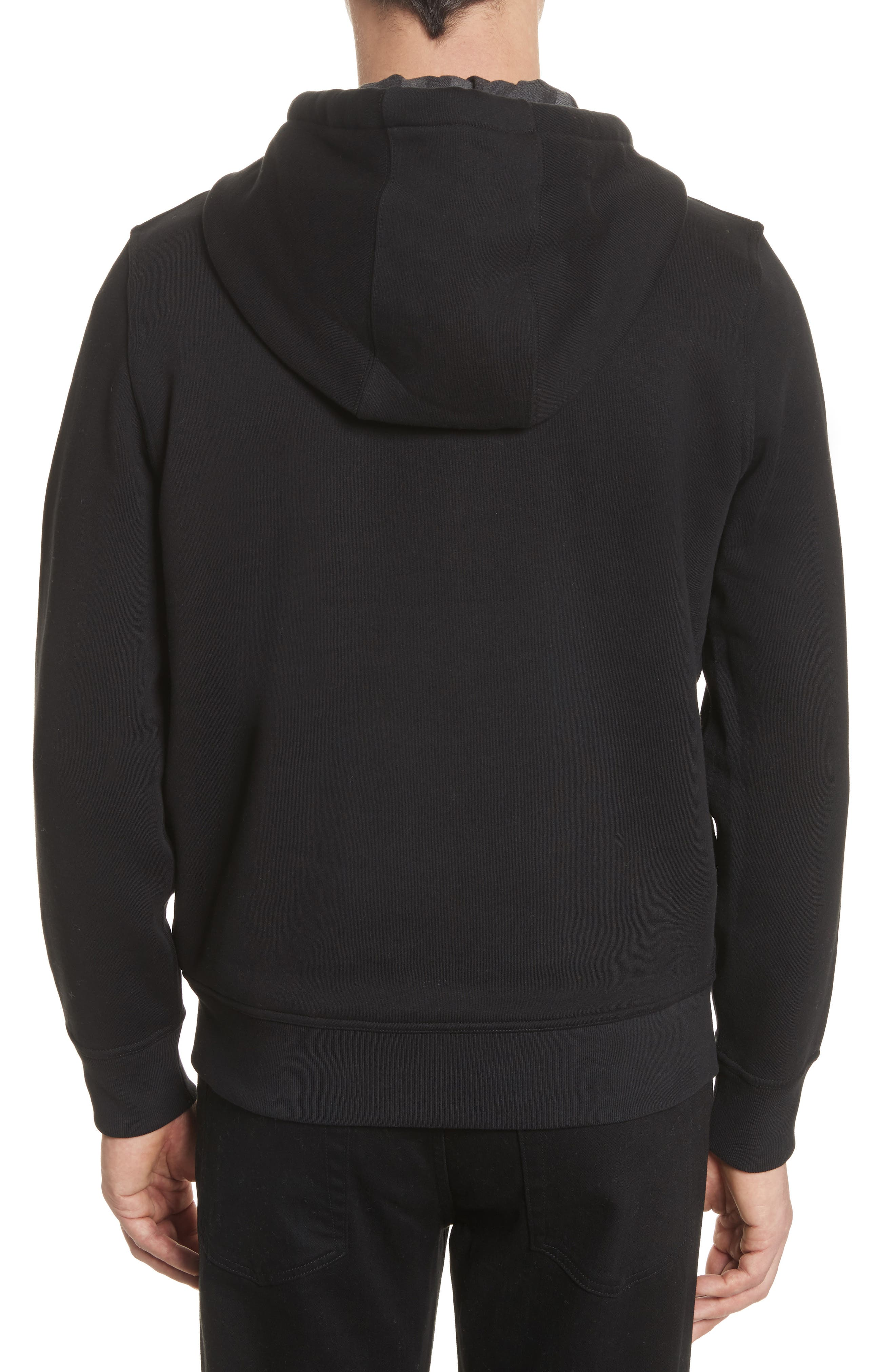 BURBERRY, Fordson Fleece Hoodie, Alternate thumbnail 2, color, BLACK