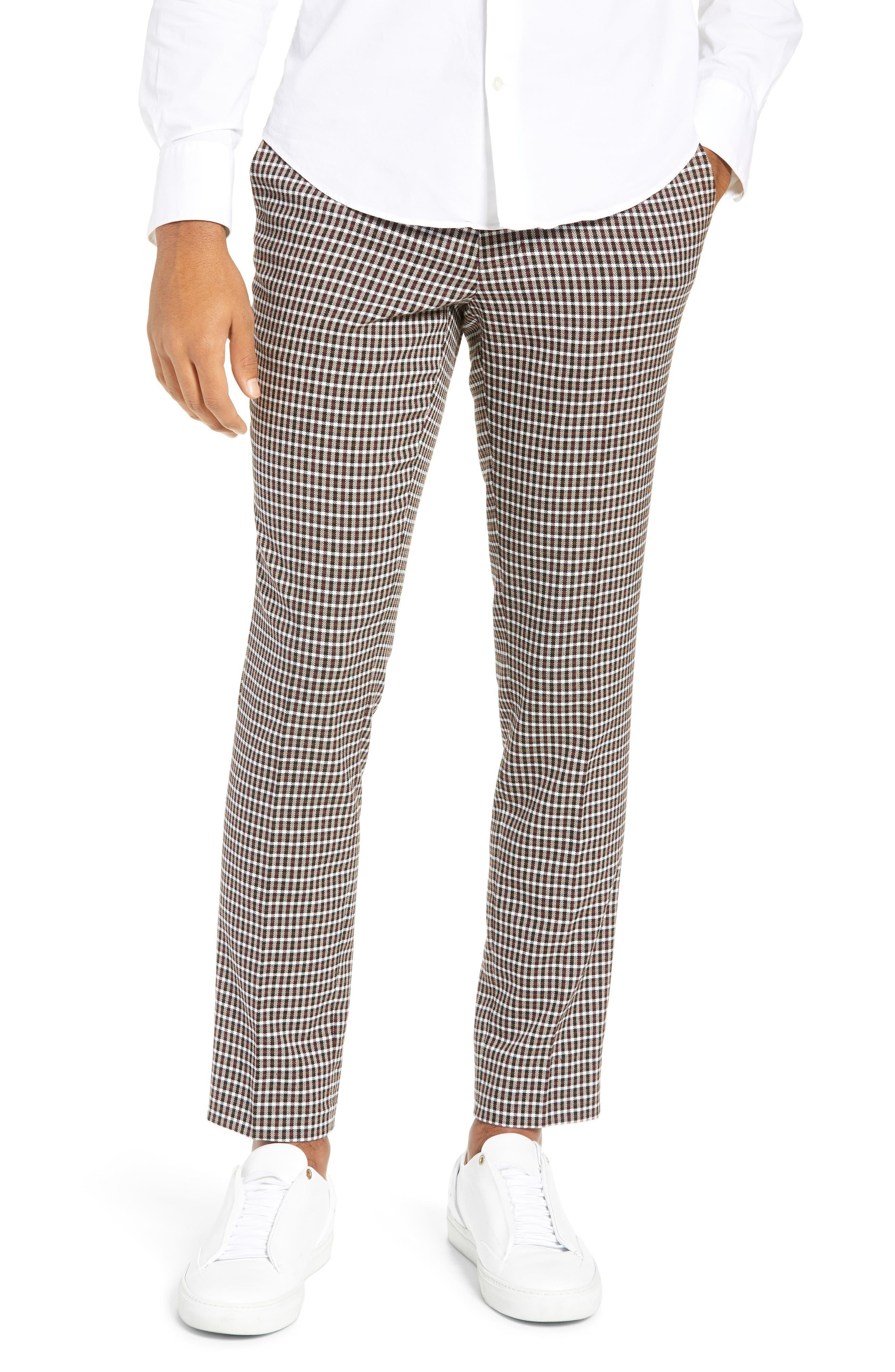TOPMAN, Multicheck Skinny Fit Trousers, Main thumbnail 1, color, BLACK MULTI