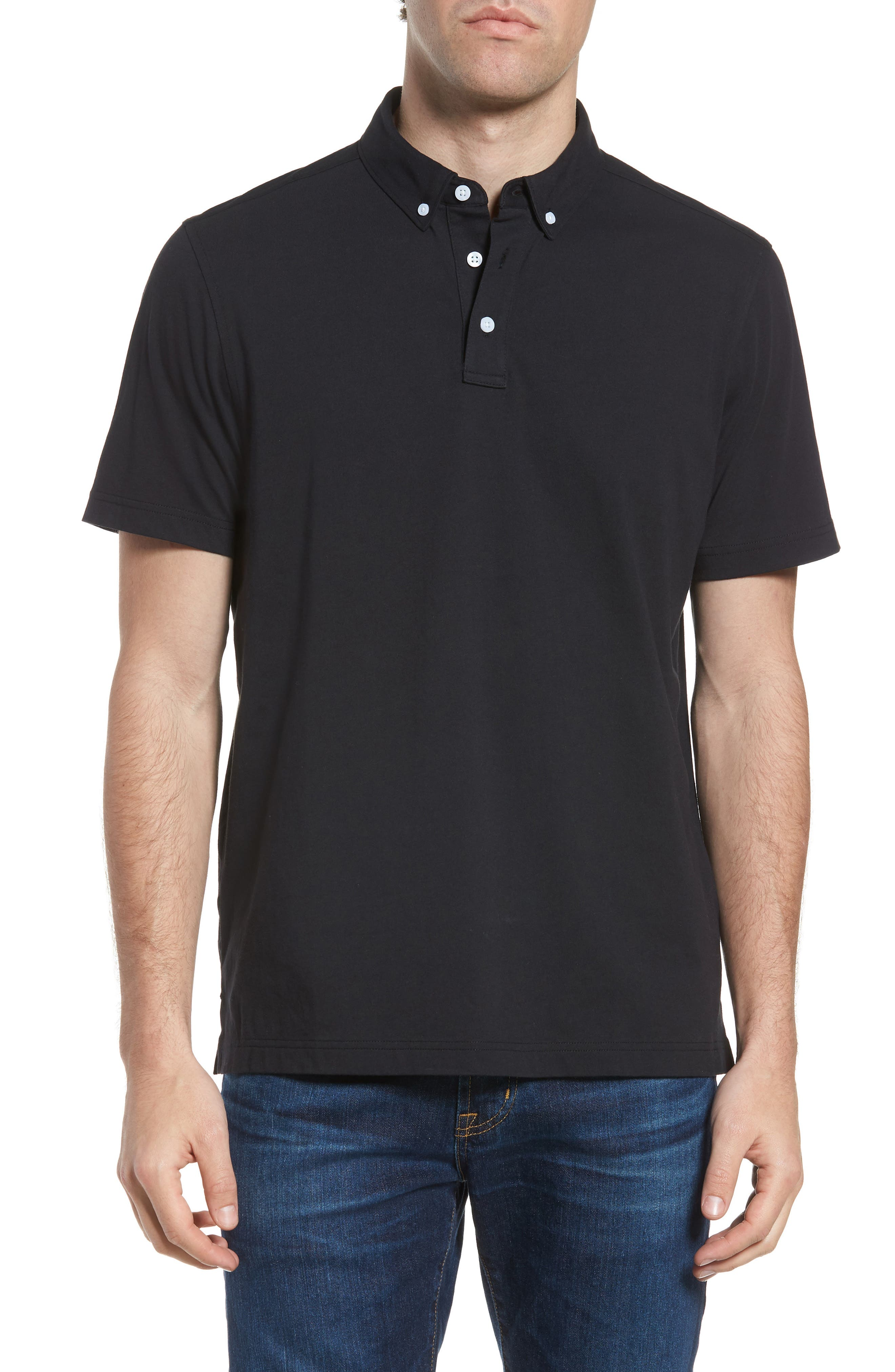 NORDSTROM MEN'S SHOP, Regular Fit Polo, Main thumbnail 1, color, BLACK
