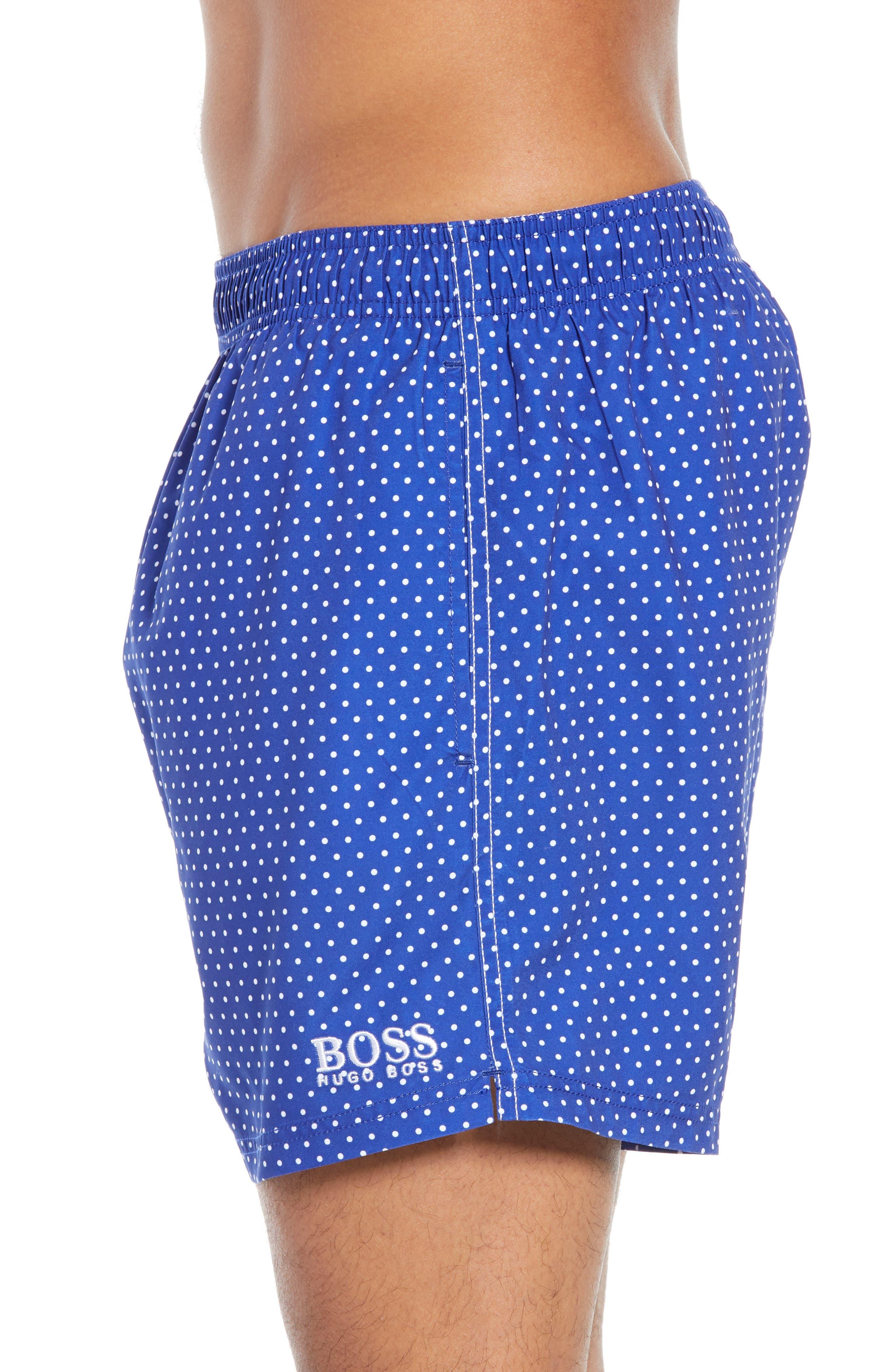 BOSS, Pike Regular Fit Polka Dot Swim Shorts, Alternate thumbnail 3, color, BLUE