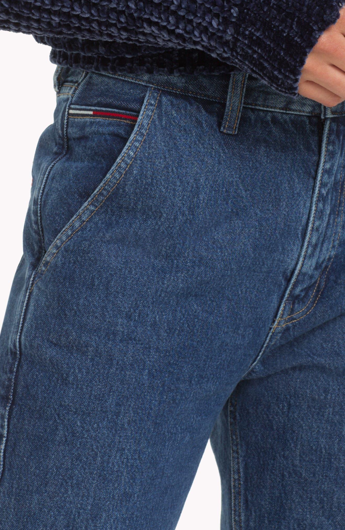 TOMMY JEANS, TJW Straight Leg Jeans, Alternate thumbnail 7, color, 400