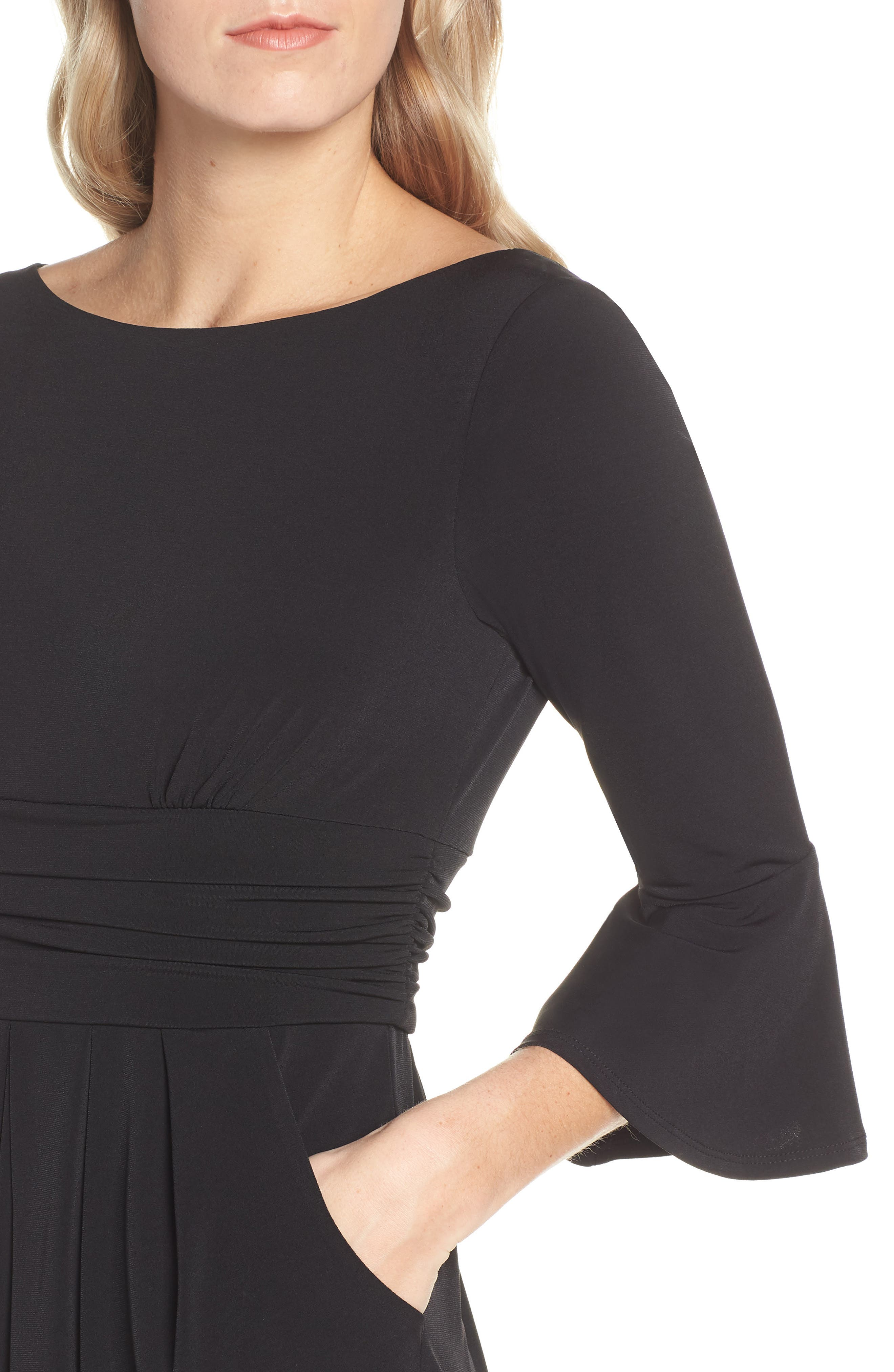 ELIZA J, Bell Sleeve Knit Sheath Dress, Alternate thumbnail 5, color, BLACK